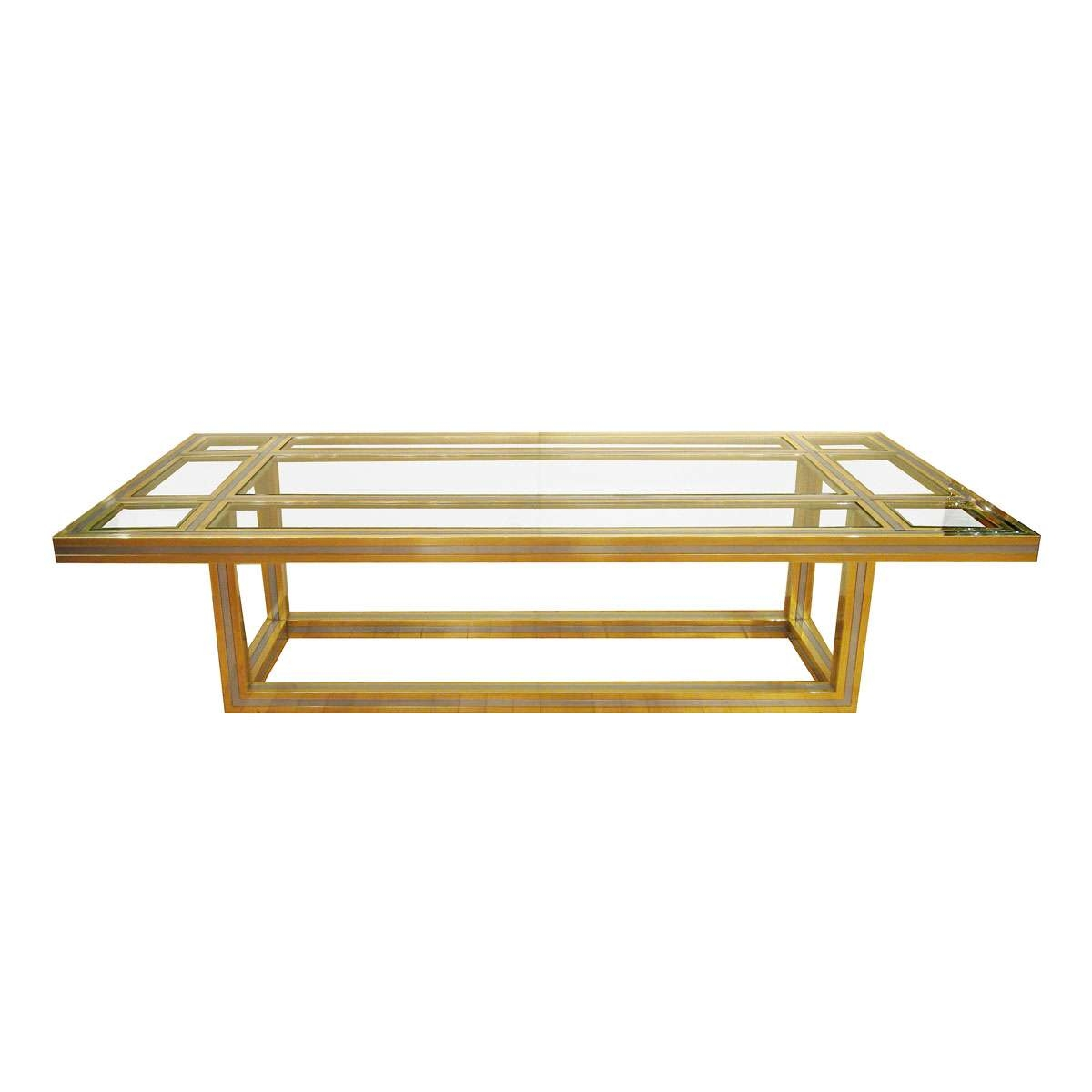Recent Antique Brass Glass Coffee Tables Inside Brass And Stainless Steel Coffee Table With Glass Insets (View 17 of 20)