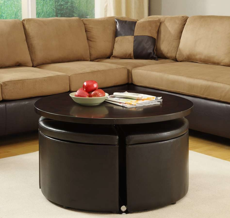 Recent Brown Leather Ottoman Coffee Tables With Storages Regarding Nesting Round Ottoman Coffee Table With Chocolate Brown Sectional (View 14 of 20)