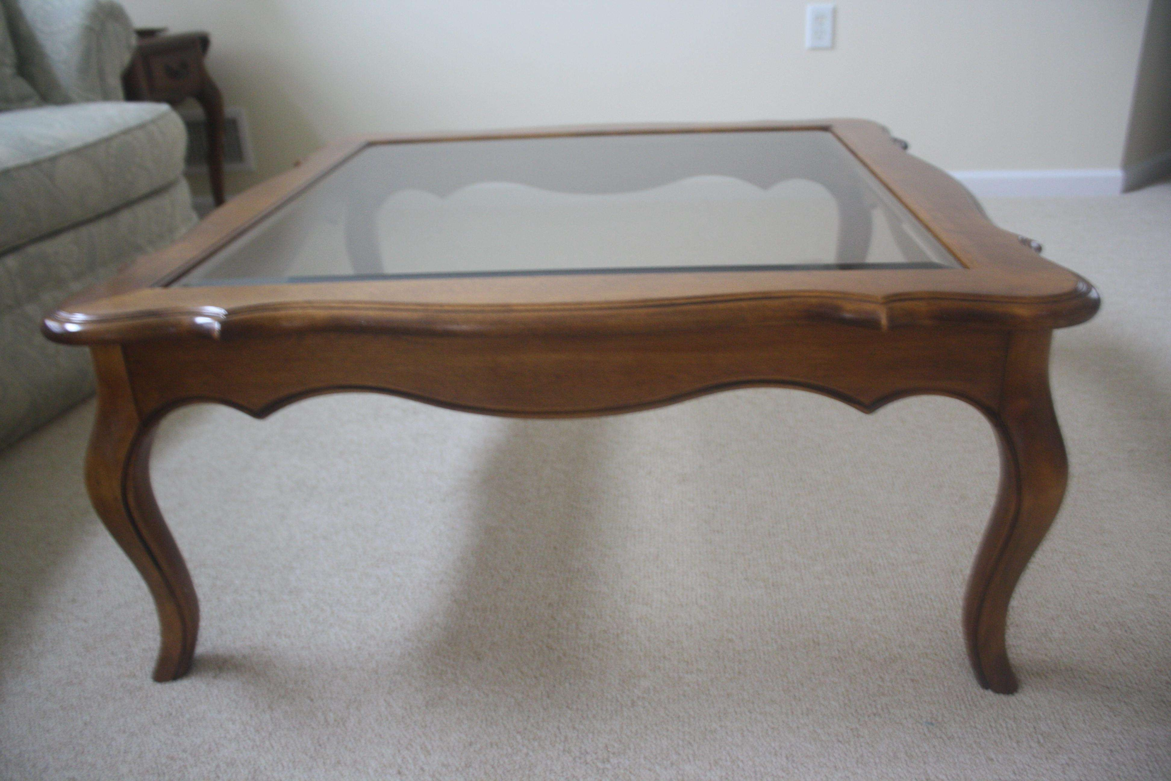 Recent Country French Coffee Tables For Itemstype Bausman Company Beveled Glass And Wood Coffee Table (View 17 of 20)