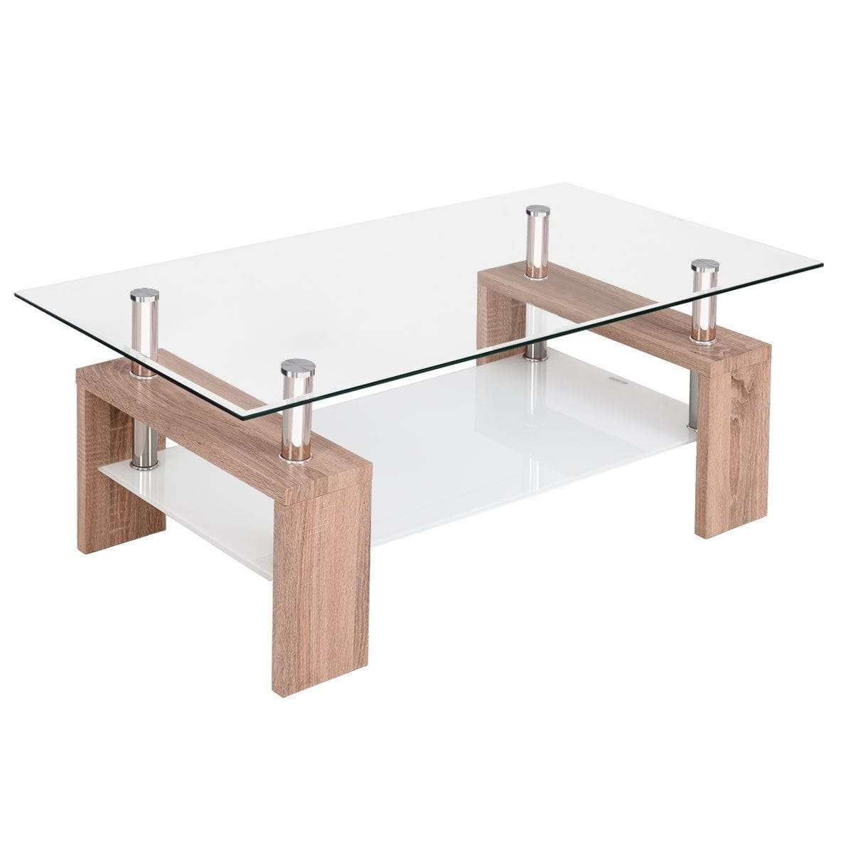Recent Glass Coffee Table With Shelf Intended For Costway Rectangular Tempered Glass Coffee Table W/shelf Wood (View 14 of 20)