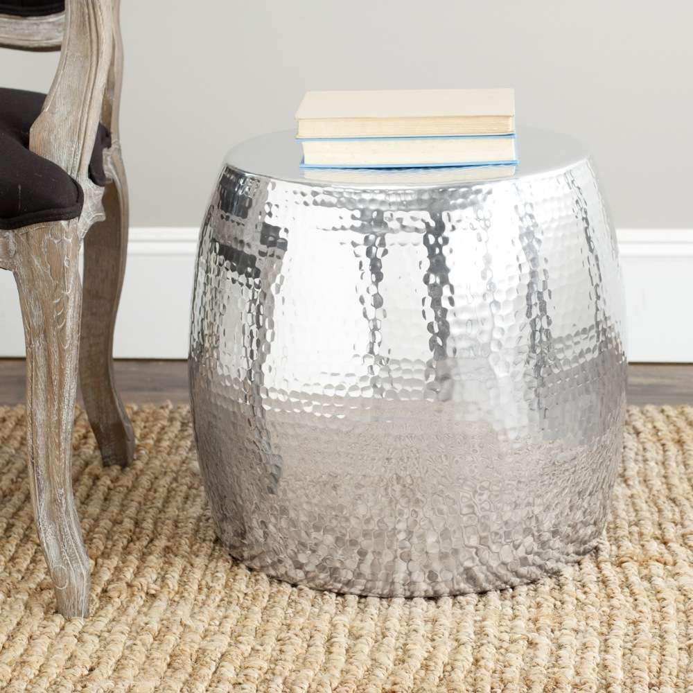 Recent Hammered Silver Coffee Tables Regarding Round Hammered Metal Coffee Table Painted With Silver Color Beside (View 16 of 20)