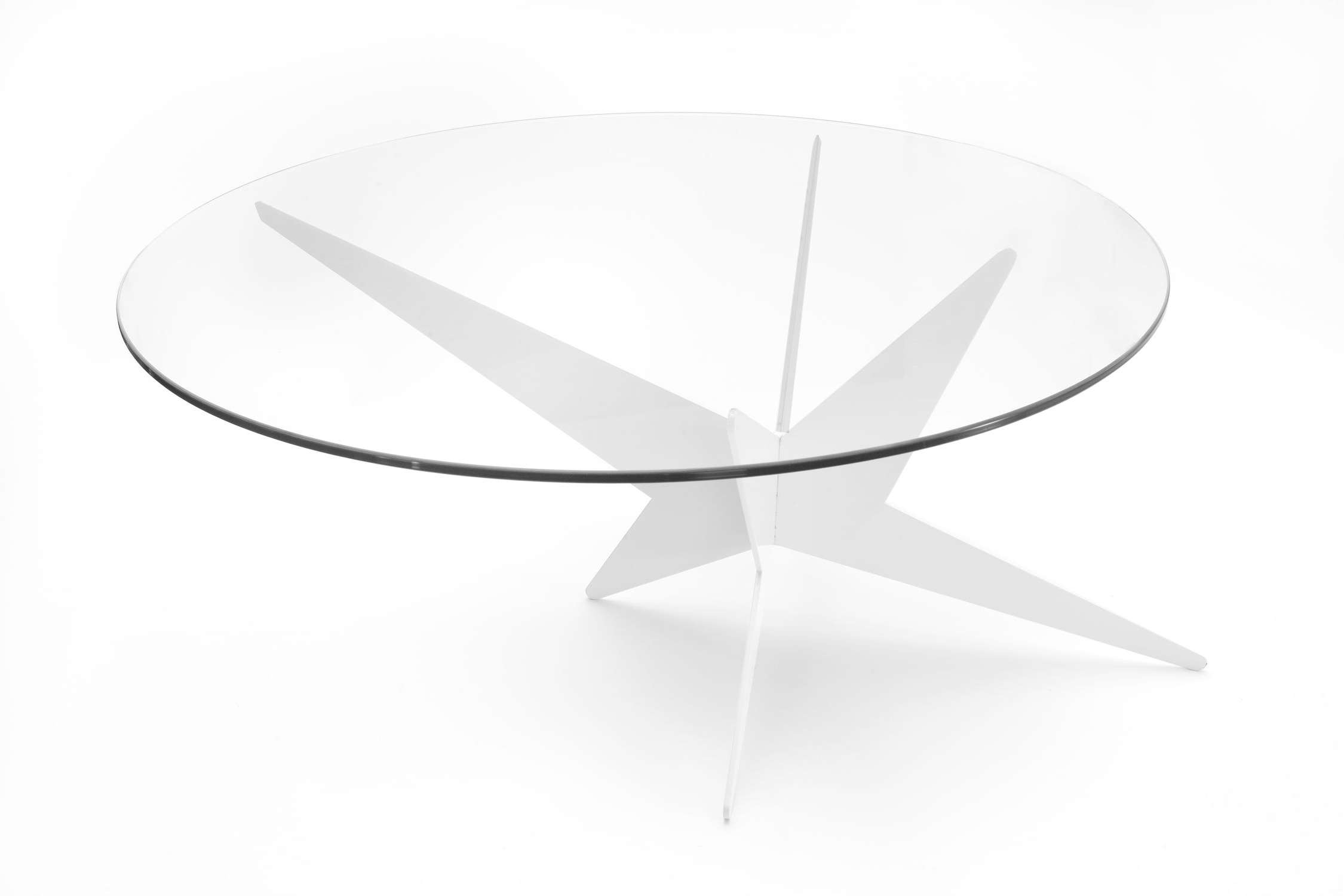 Recent Low Glass Coffee Tables Within Glass Top Low Round Coffee Table With Wooden Base Painted With (View 10 of 20)