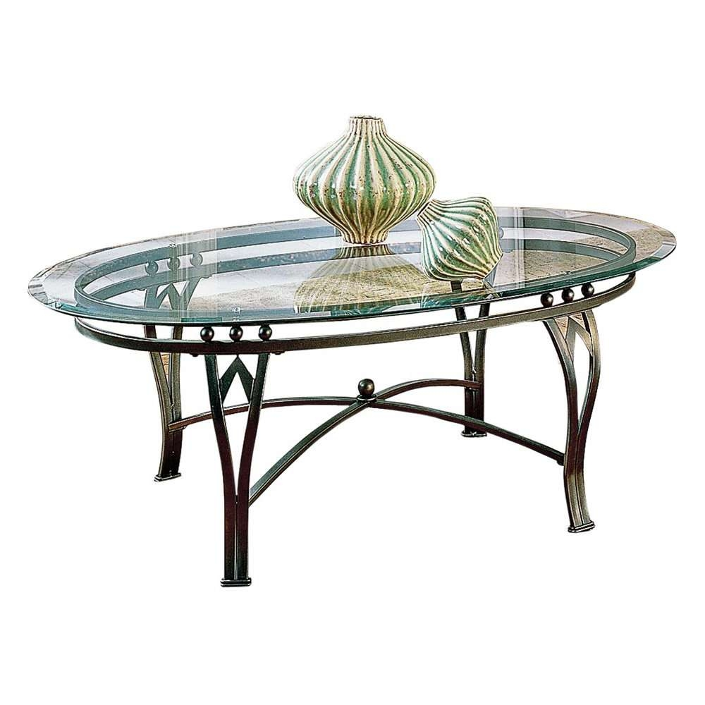 Recent Metal Glass Coffee Tables Throughout Vintage Style Black Metal Legs And Frame Coffee Table With Oval (View 12 of 20)