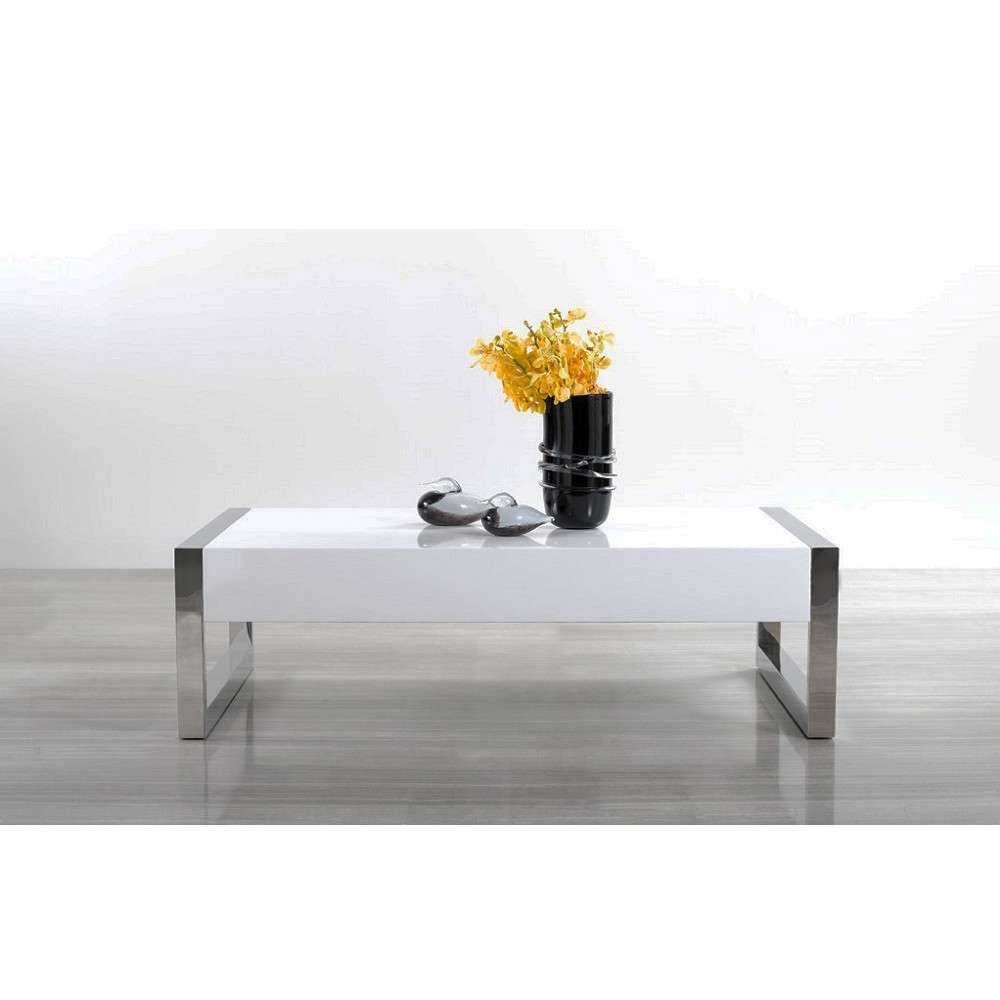 Recent Modern Chrome Coffee Tables With Regard To Modern White / Chrome Coffee Table 115a, J&m Furniture – Modern (View 6 of 20)