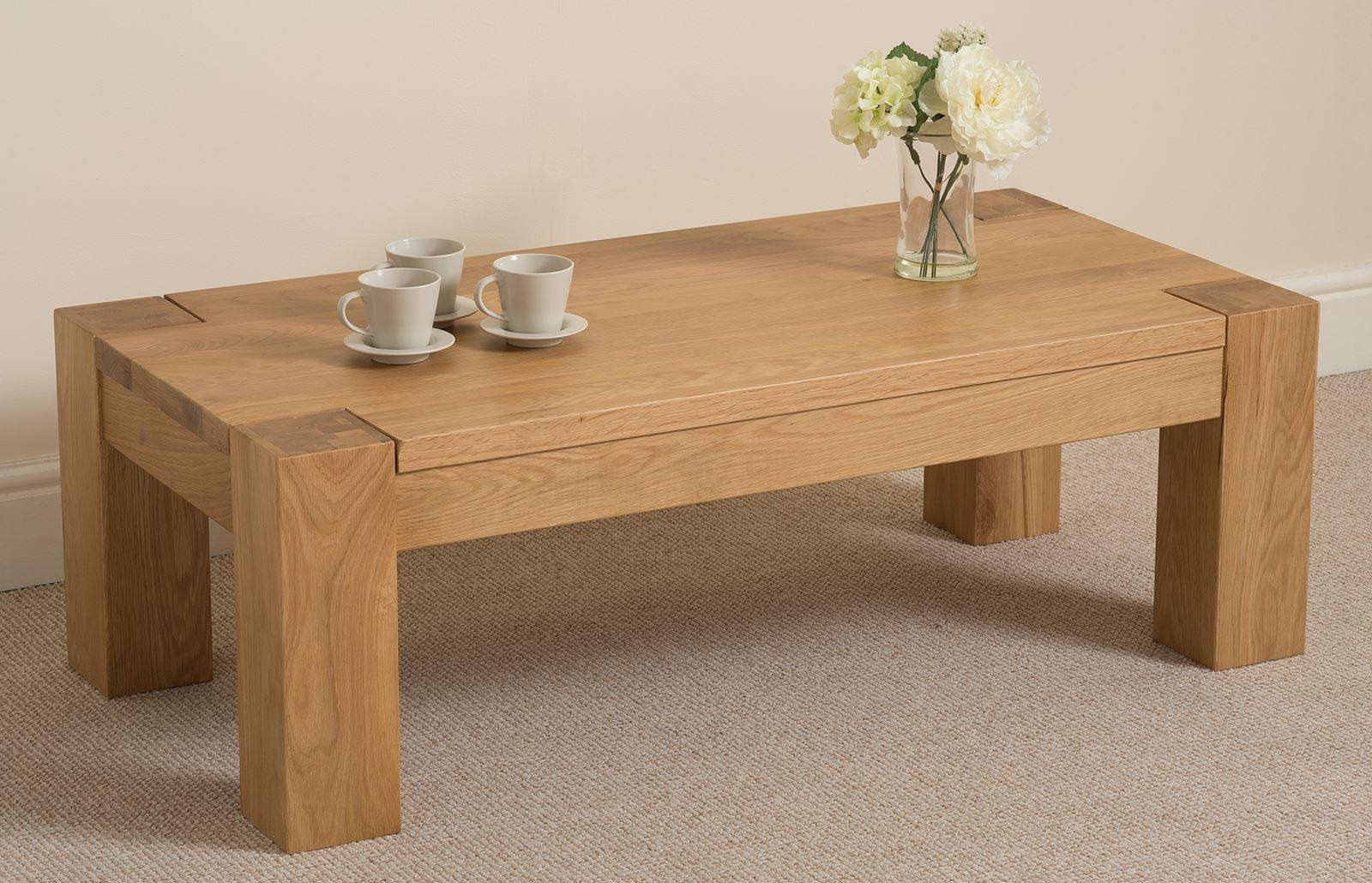 Recent Solid Oak Beam Coffee Table Pertaining To Coffee Table : Chunky 4 Leg Coffee Table With Shelf Rustic Oak In (View 10 of 20)