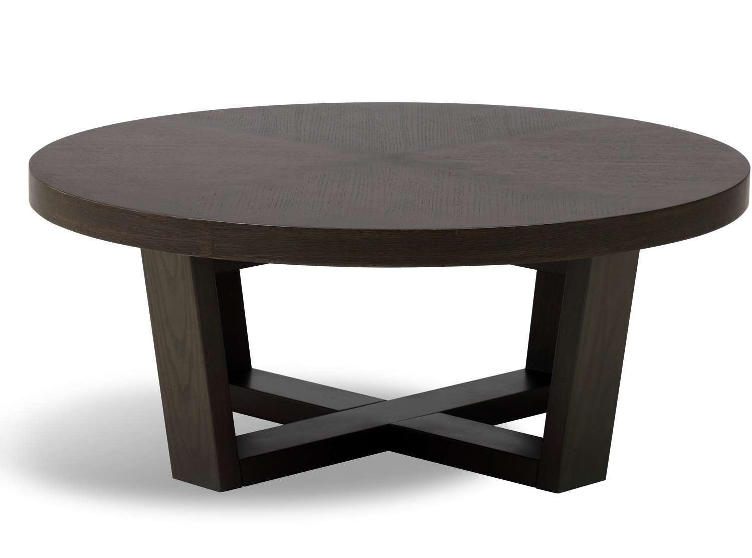 Recent Solid Round Coffee Tables For Coffee Tables : Round Coffee Table Circular Wood Padded Seagrass (View 12 of 20)