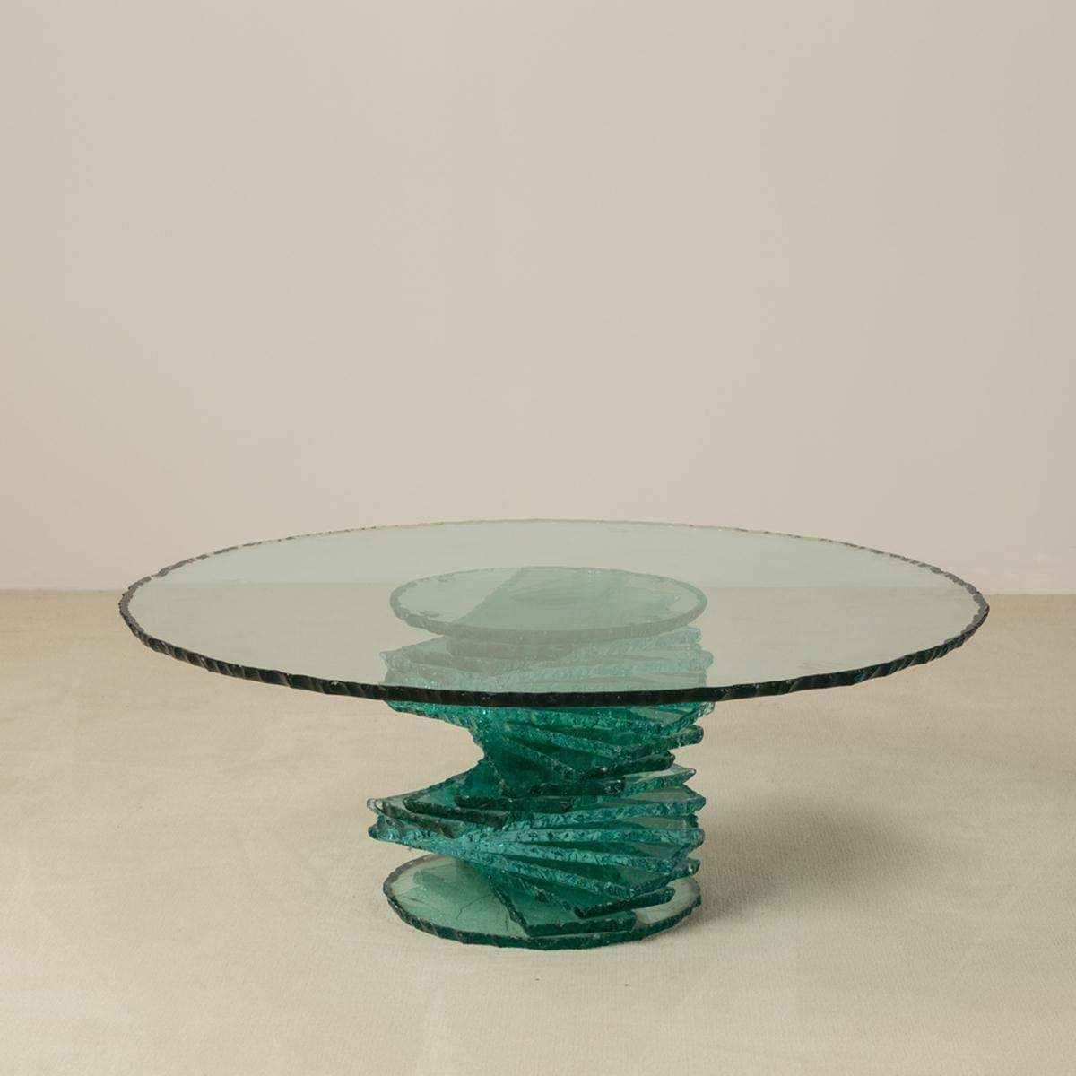 Recent Spiral Glass Coffee Table Intended For A Late 20th Century Pedestal Based