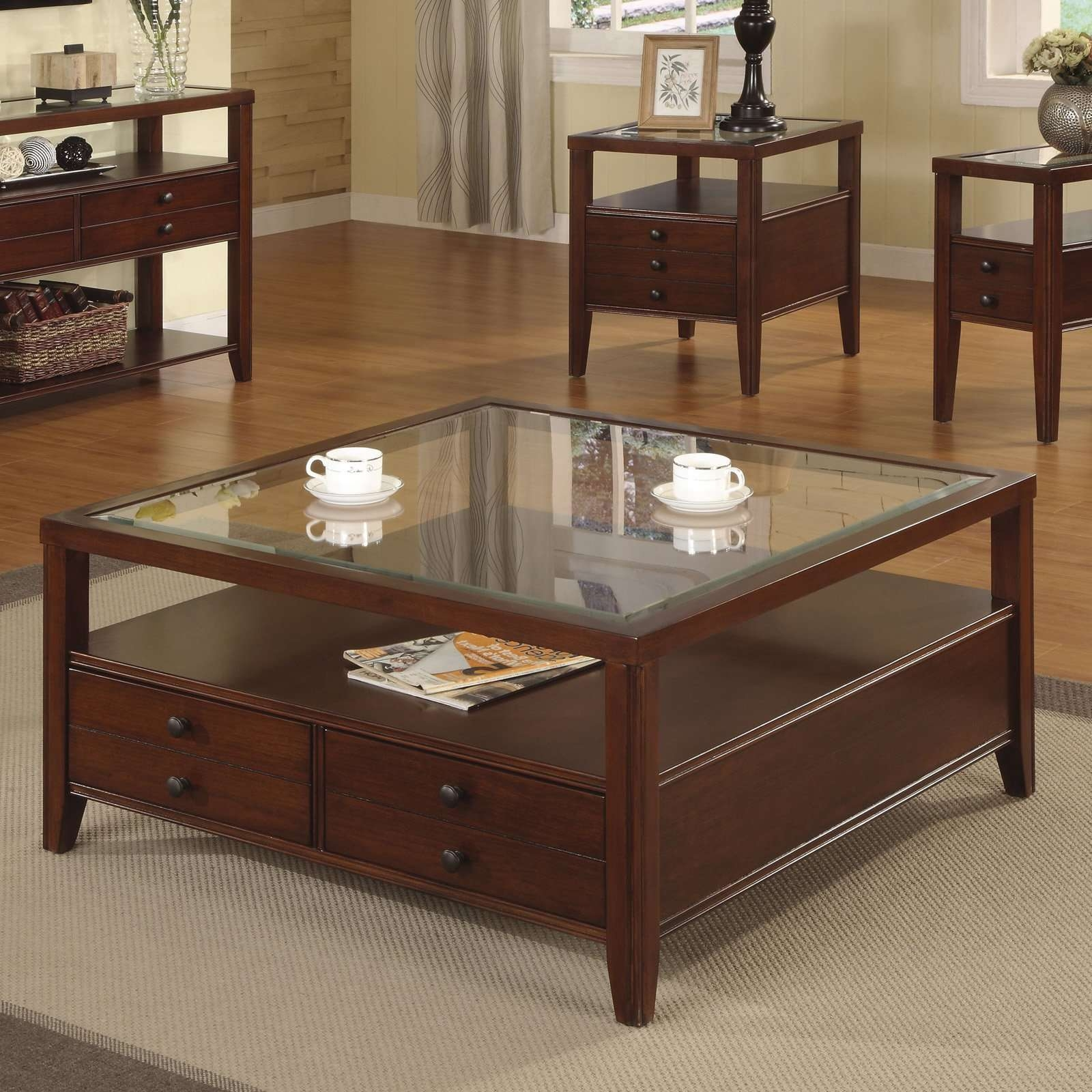 Recent Square Coffee Tables With Storages With Square Coffee Table With Storage Glass Top With Modern Dark Cherry (View 13 of 20)
