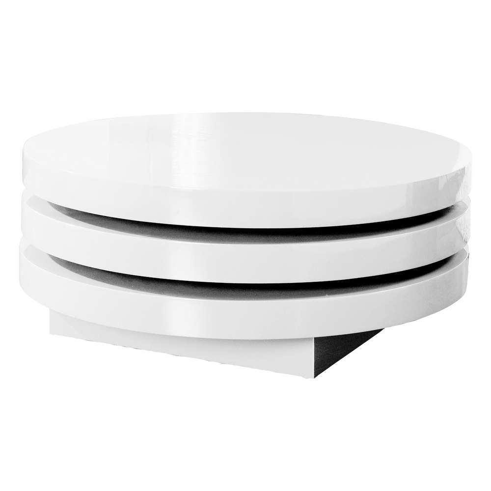 Recent Swivel Coffee Tables Throughout Triplo Round Gloss Swivel Coffee Table White – Dwell (View 11 of 20)