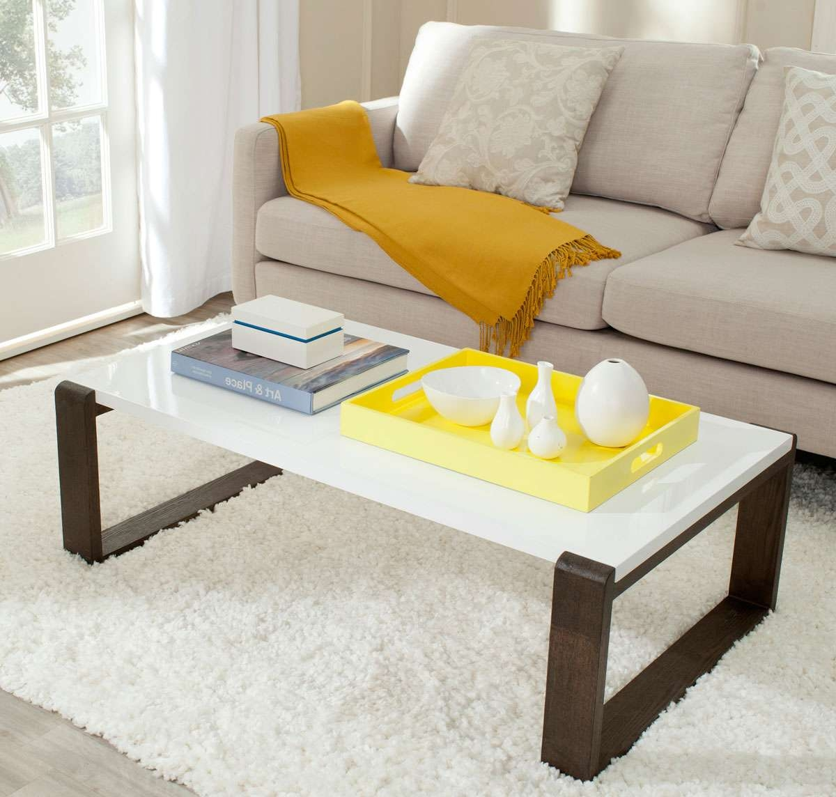 Recent White And Brown Coffee Tables Throughout Fox4210A Coffee Tables – Furnituresafavieh (View 15 of 20)