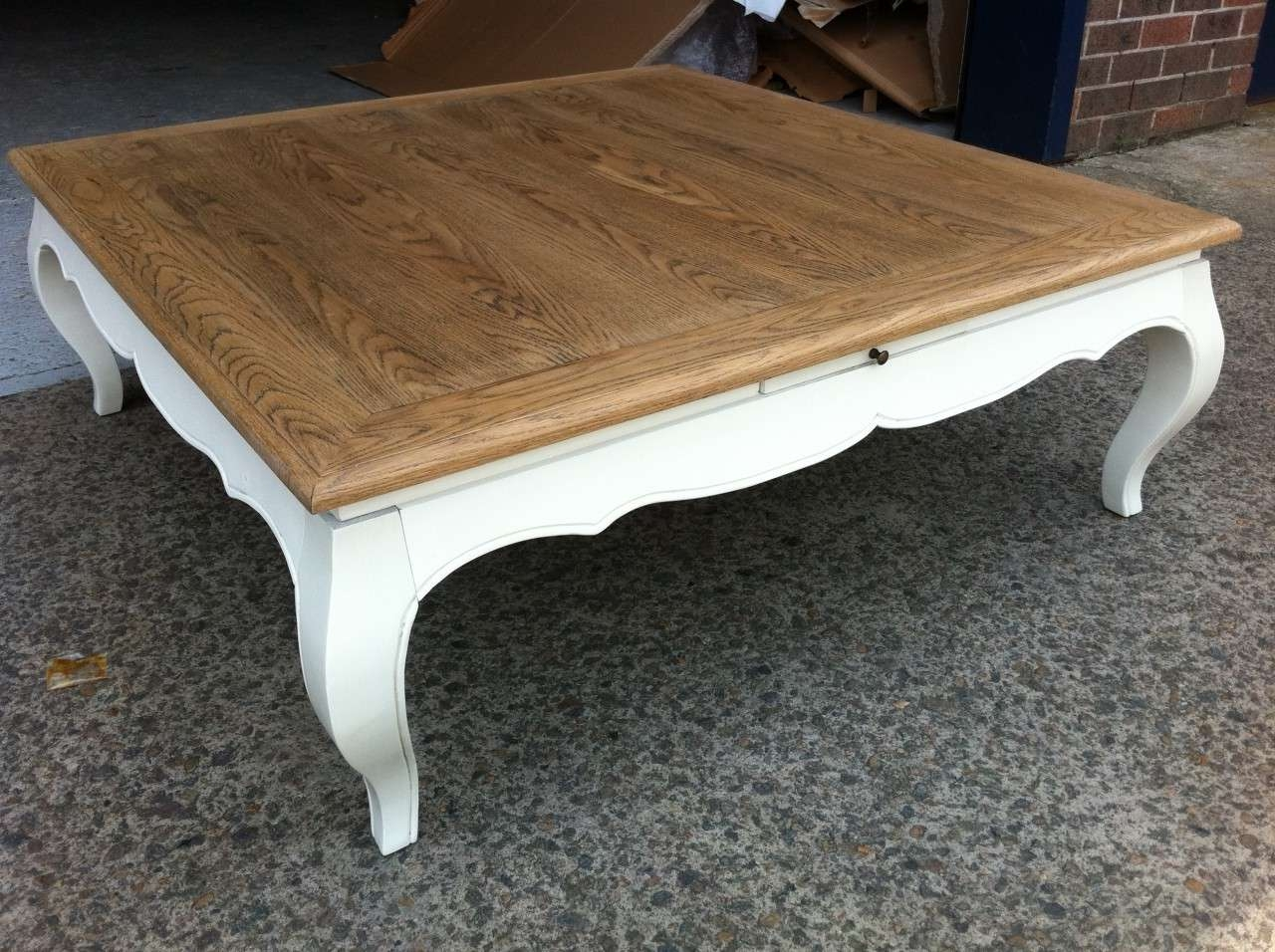 Recent White French Coffee Tables Pertaining To Brown And White Square Wood French Coffee Table Designs For Living (View 12 of 20)