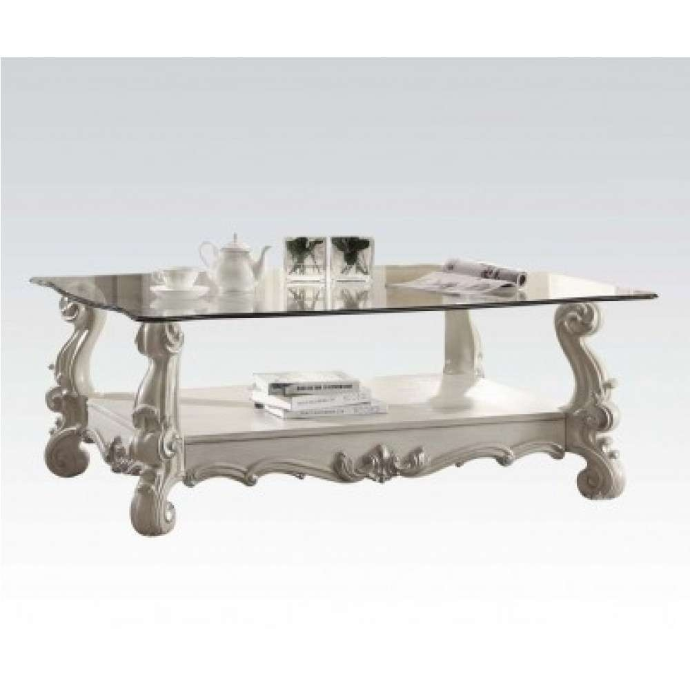 Recent White Wood And Glass Coffee Tables Throughout Versailles Traditional Bone White Wood Glass Coffee Table (View 10 of 20)