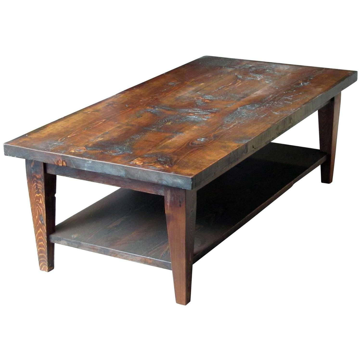 Reclaimed Semi Rustic Pine Coffee Table With Bottom Shelf And Within 2018 Rustic Coffee Tables With Bottom Shelf (View 11 of 20)