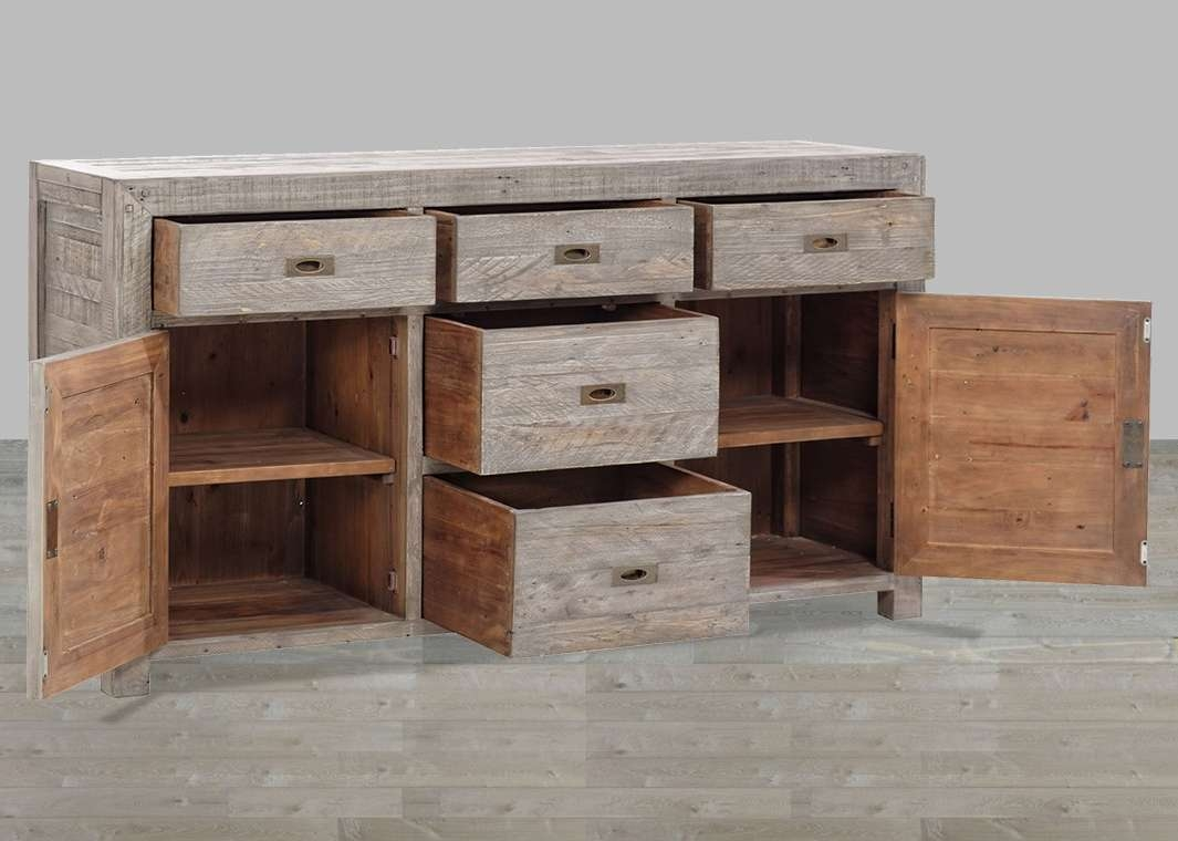 Reclaimed Wood Black Olive 7 Drawer Sideboard Pertaining To Reclaimed Wood Sideboards (View 9 of 20)