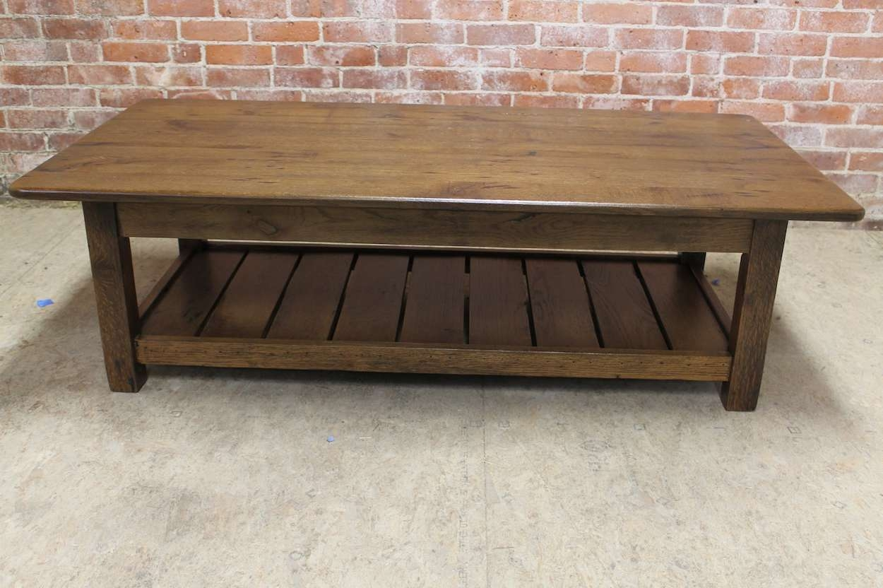 Reclaimed Wood Coffee Table With Shelf – Lake And Mountain Home In Recent Oak Coffee Tables With Shelf (View 17 of 20)