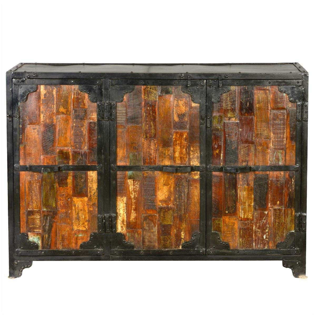 Reclaimed Wood & Iron 3 Door Industrial Buffet Cabinet With Regard To Reclaimed Wood Sideboards (View 15 of 20)