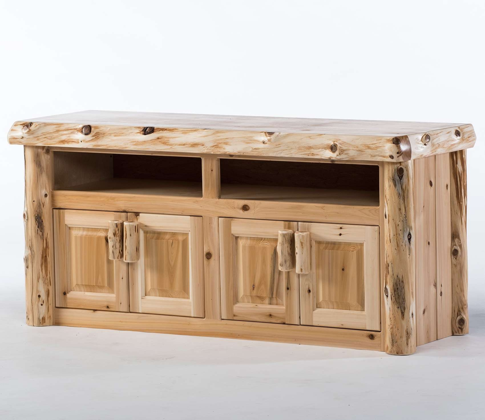 Reclaimed Wood Tv Stands & Rustic Tv Stands: Log Tv Stand & Rustic In Rustic Wood Tv Cabinets (View 7 of 20)