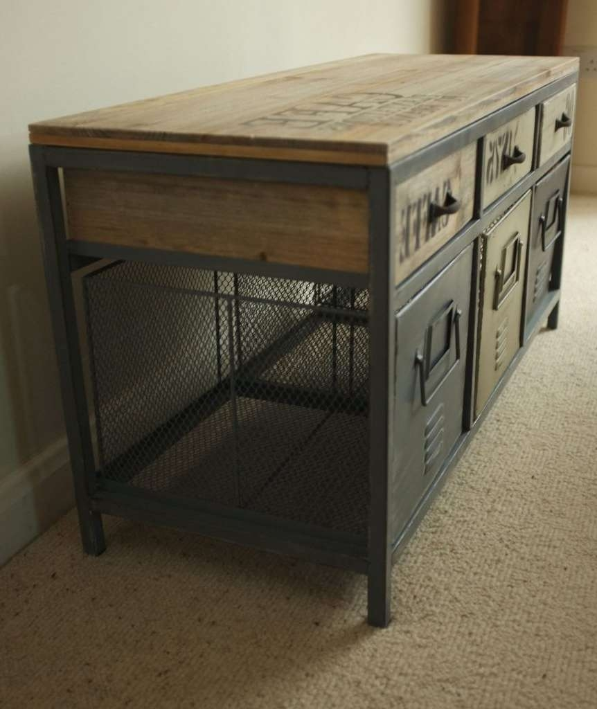 Reclaimed Wooden Topped Industrial Cabinet – Cambrewood With Regard To Industrial Sideboards (View 12 of 20)