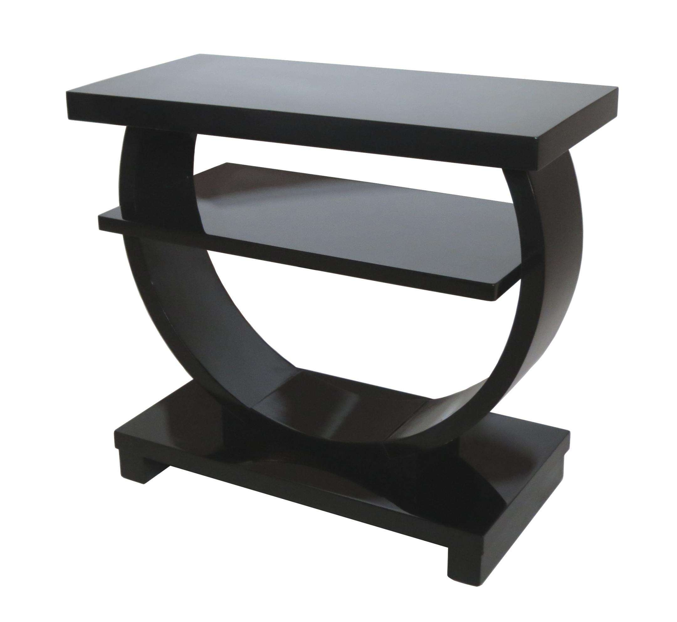 Rectangle Black Wooden Side Table With Curving A Half Round Base With Famous Small Coffee Tables With Shelf (View 18 of 20)