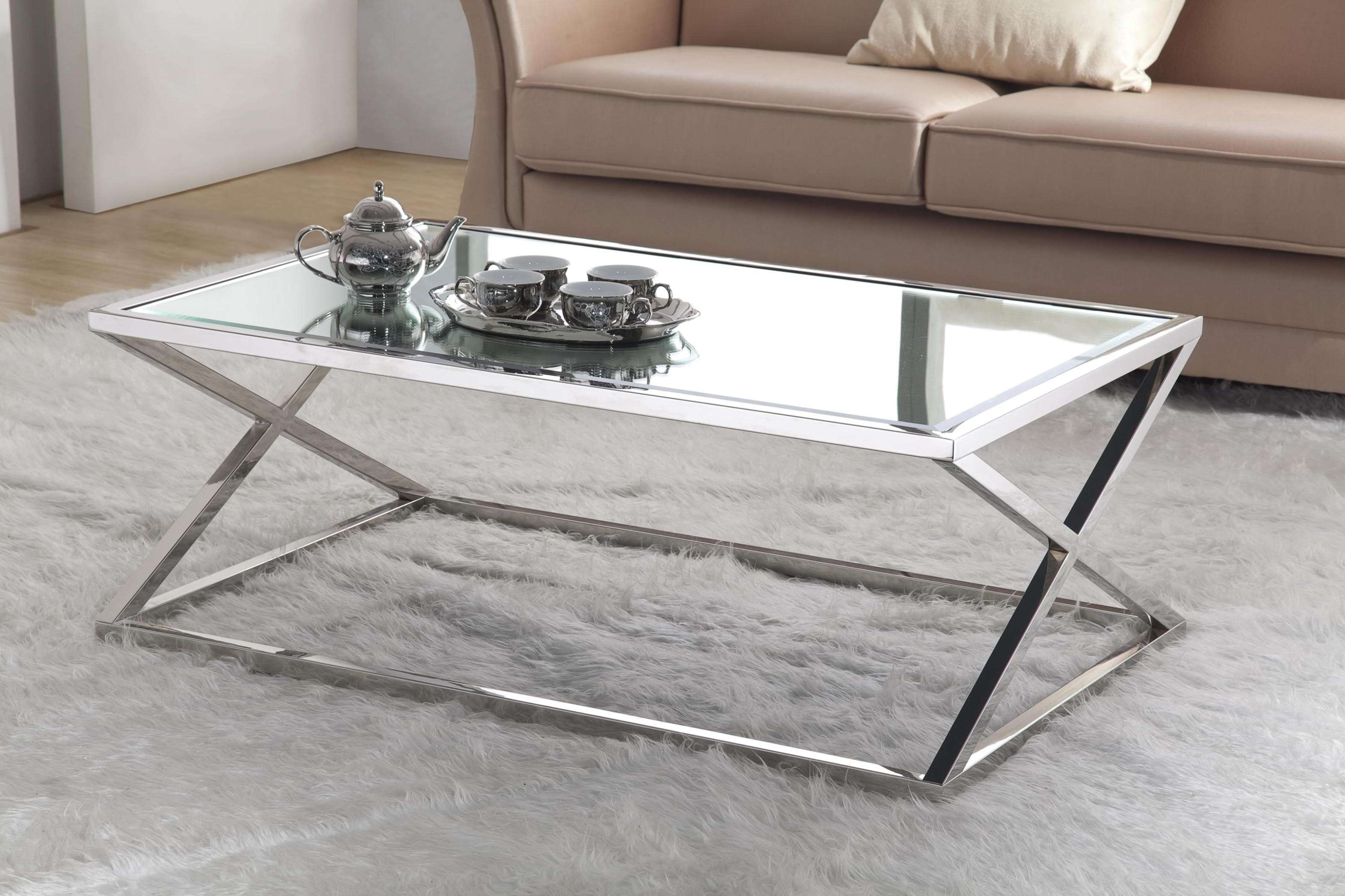 Rectangle Glass Top Coffee Table With Stainless Steel Frames And With 2017 Steel And Glass Coffee Tables (View 11 of 20)