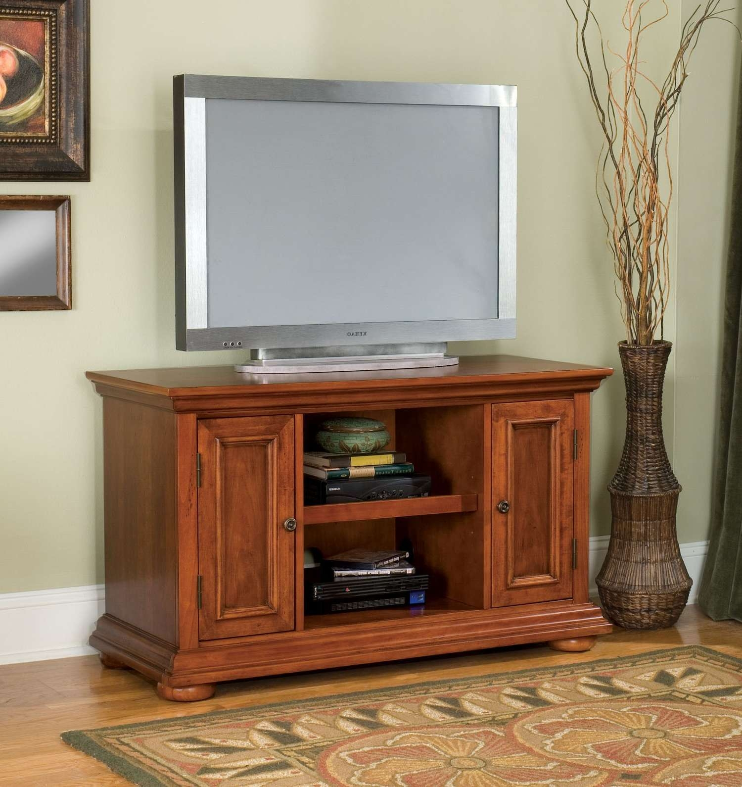 Rectangle Reverse Knife Edge Profile Cherry Wood Tv Cabinet Stand Pertaining To Cherry Wood Tv Cabinets (View 11 of 20)