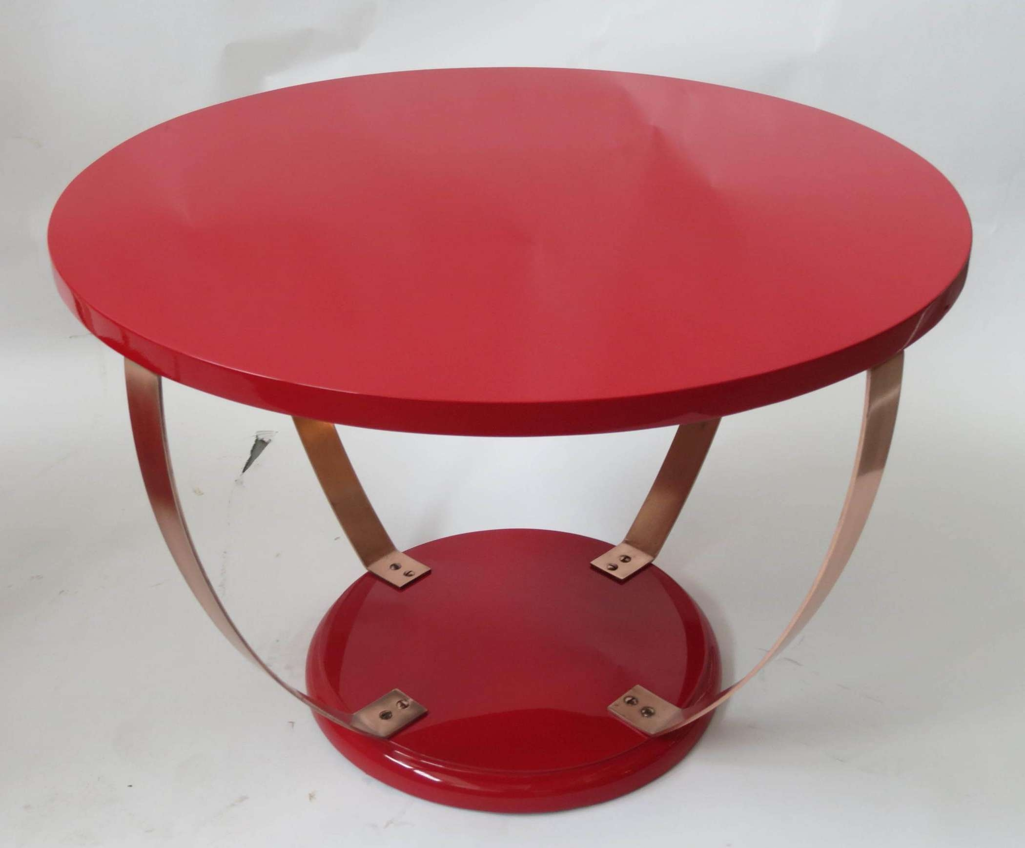 Red Lacquer American Art Deco Coffee Table (View 15 of 20)