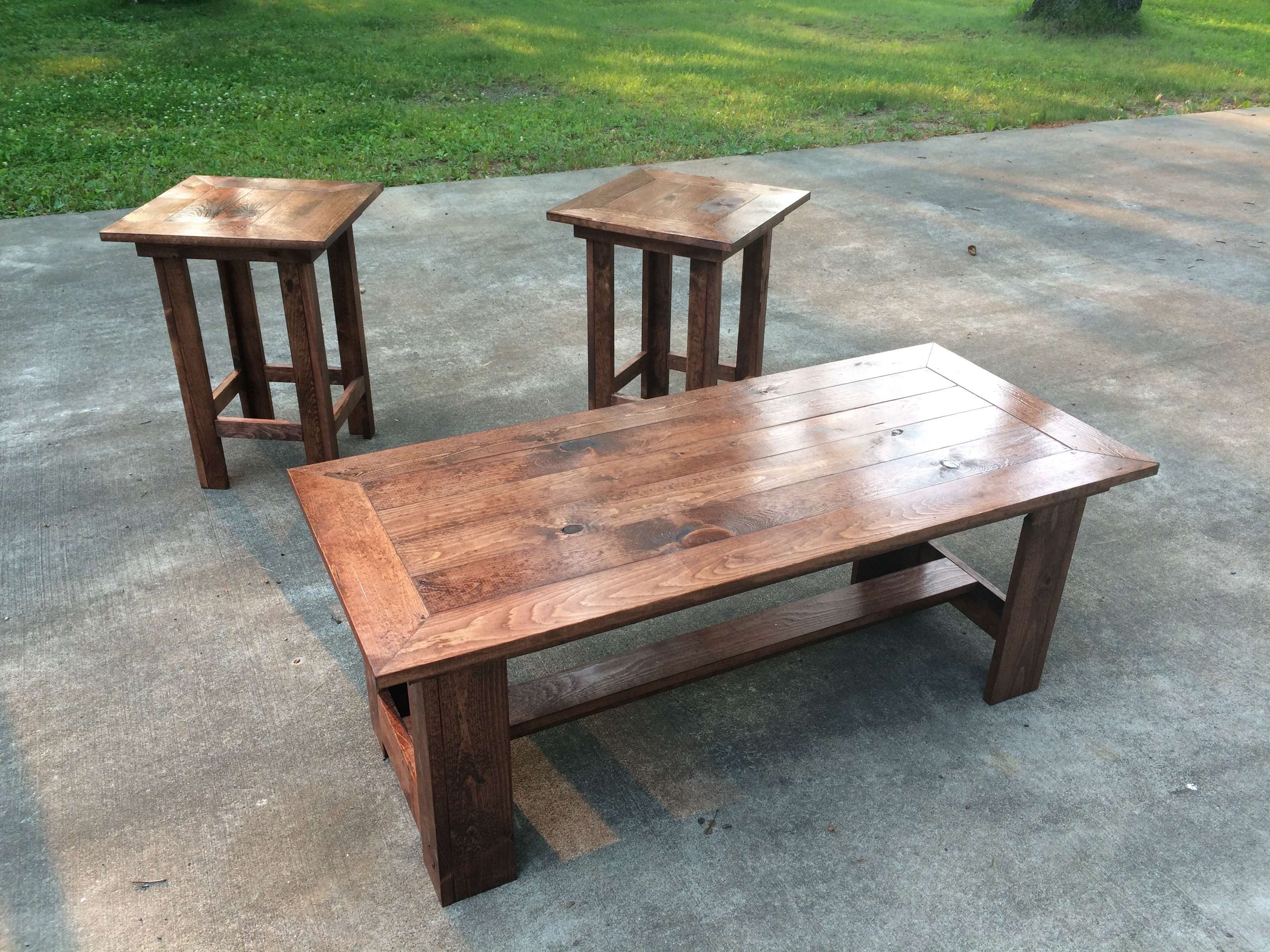 Red Oak Colored Coffee Table And End Chairs – Pine+Main Within 2017 Red Coffee Tables (View 16 of 20)