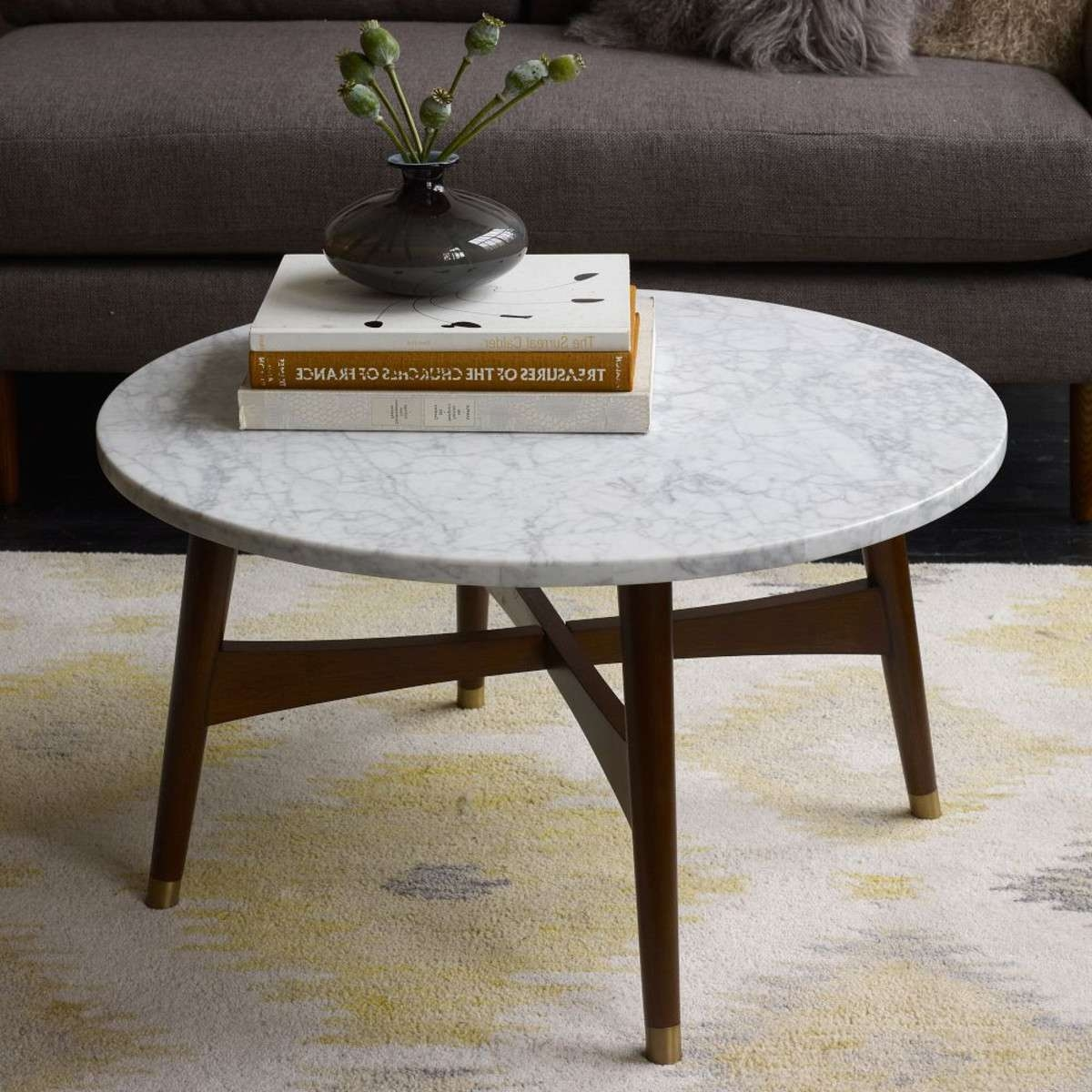 Reeve Mid Century Coffee Table Round Marble Top Coffee Table Inside Most Current Marble Coffee Tables (View 14 of 20)