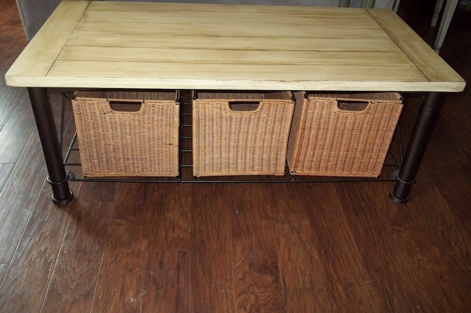Refurbished Furniture: Cream Coffee Table With Wicker Baskets With Most Current Coffee Table With Wicker Basket Storage (View 15 of 20)