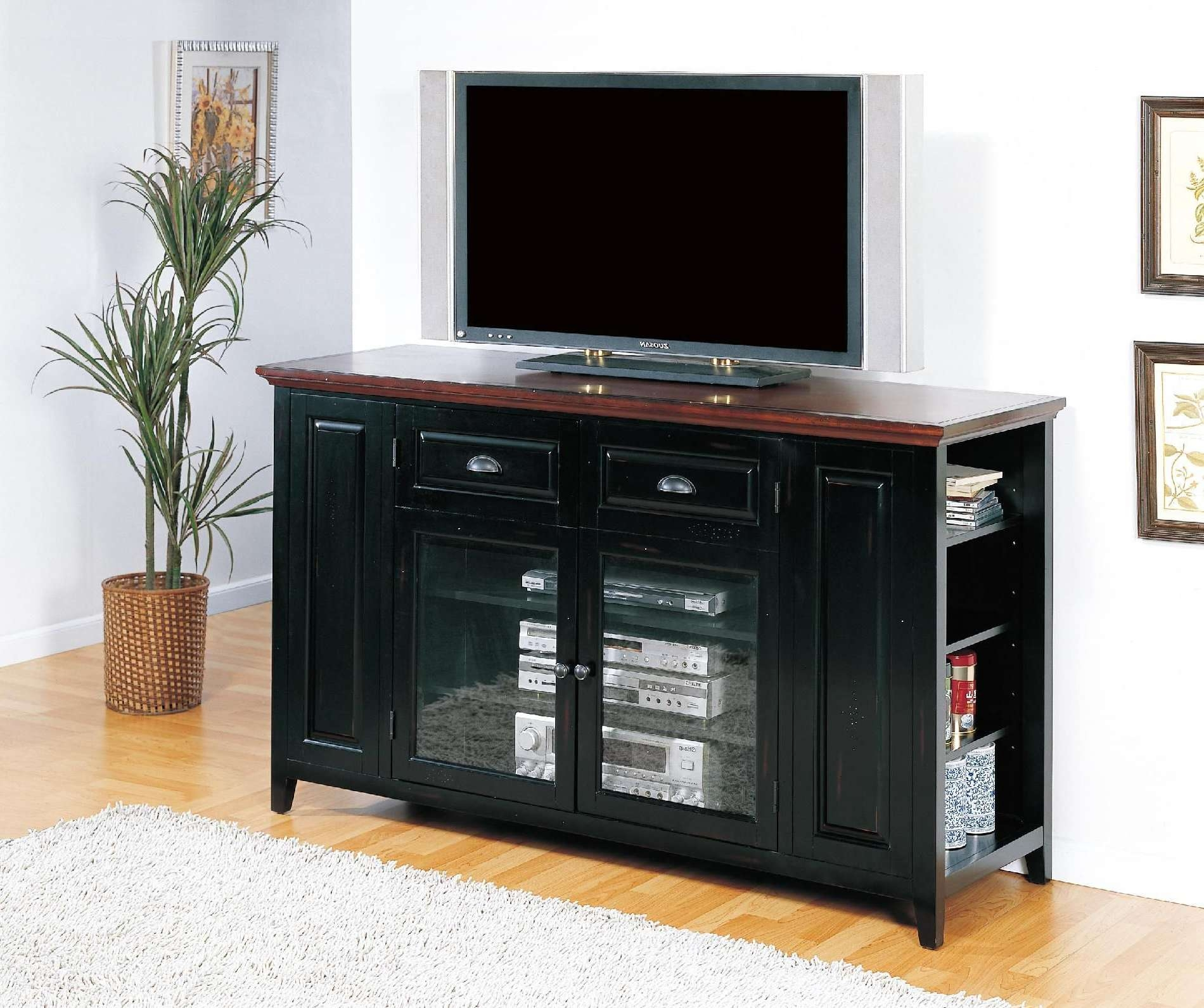 Retro Black Oak Wood Tv Stand With Glass Doors Of Tall Tv Stands For Tall Black Tv Cabinets (View 2 of 20)