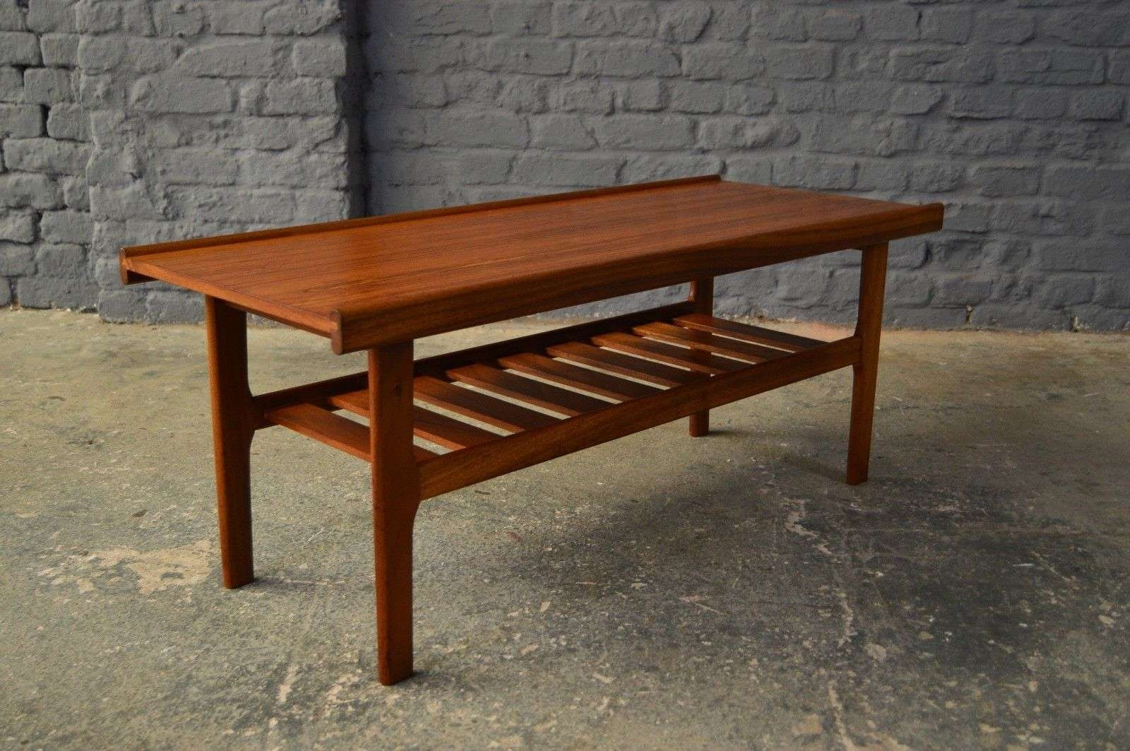 Retro Vintage Mid Century Teak Coffee Table Magazine Rack Danish Intended For Cur Tables With