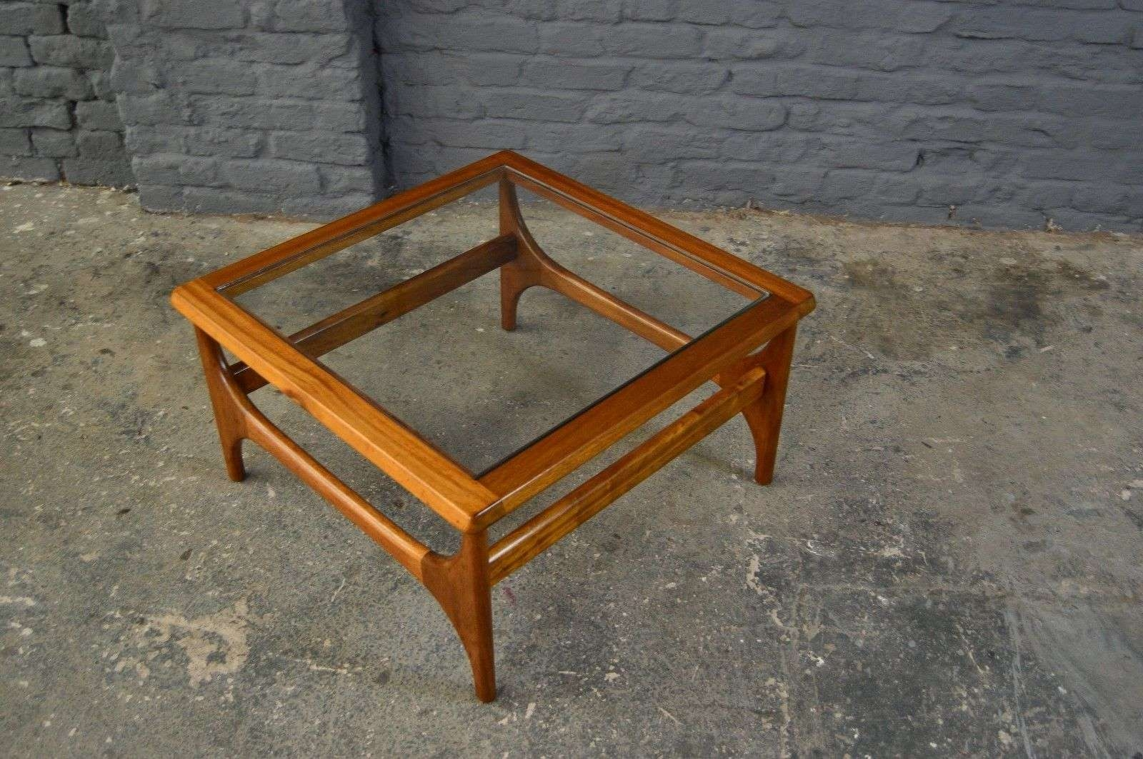 Retro Vintage Mid Century Teak Glass Square Coffee Table Danish For Favorite Retro Teak Glass Coffee Tables (View 13 of 20)