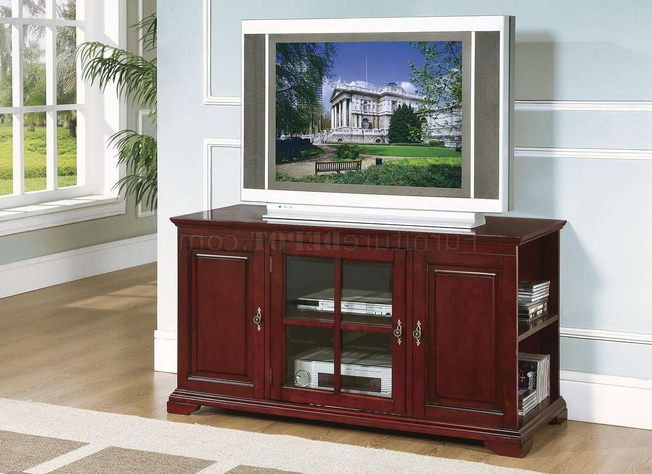 Rich Cherry Finish Traditional Tv Stand W/side Storage Pertaining To Traditional Tv Cabinets (View 12 of 20)