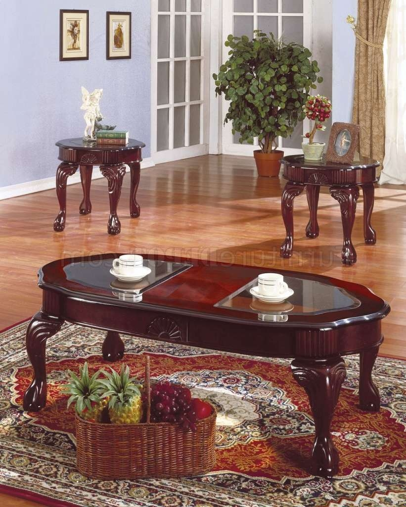 Rich Cherry Traditional 3Pc Coffee Table Set W/glass Inserts For Recent Cherry Wood Coffee Table Sets (View 14 of 20)