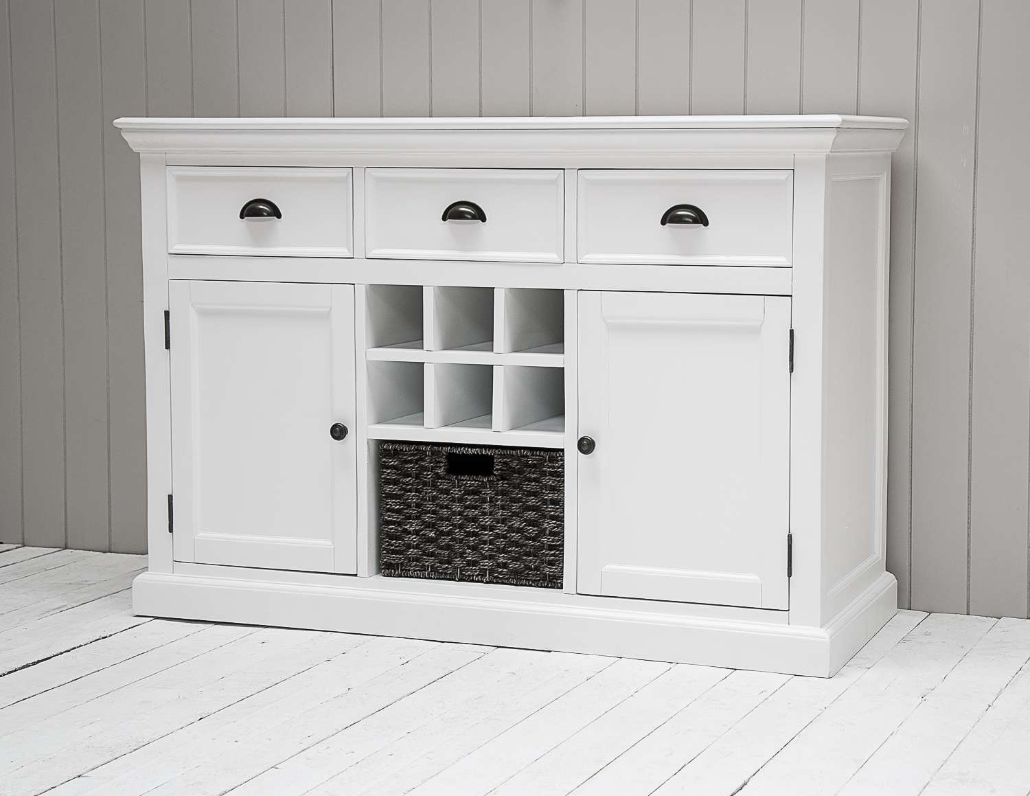 Richmond Painted Pine Large Sideboard With Wicker Basket And Wine Rack For Sideboards With Wine Rack (View 17 of 20)