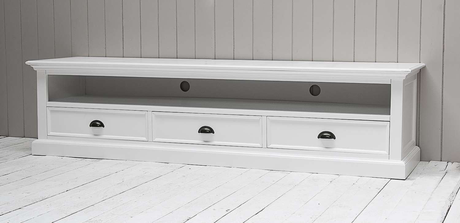 Richmond Painted Pine Low Tv Cabinet | Oak Furniture Solutions Pertaining To White Painted Tv Cabinets (View 6 of 20)