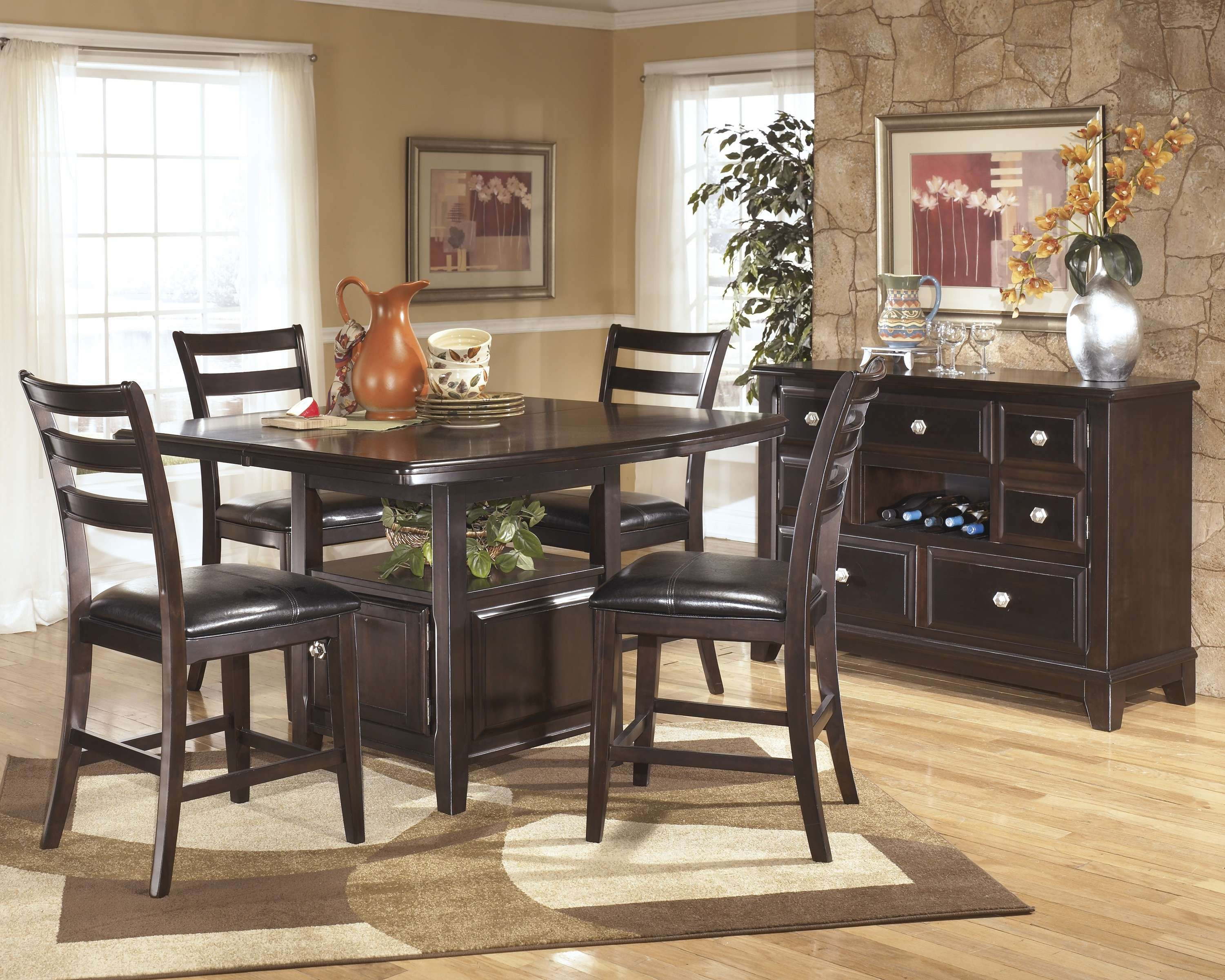 Ridgley Dark Brown 6 Pc Counter Height Dining Table Barstools And Pertaining To Black Dining Room Sideboards (View 4 of 20)