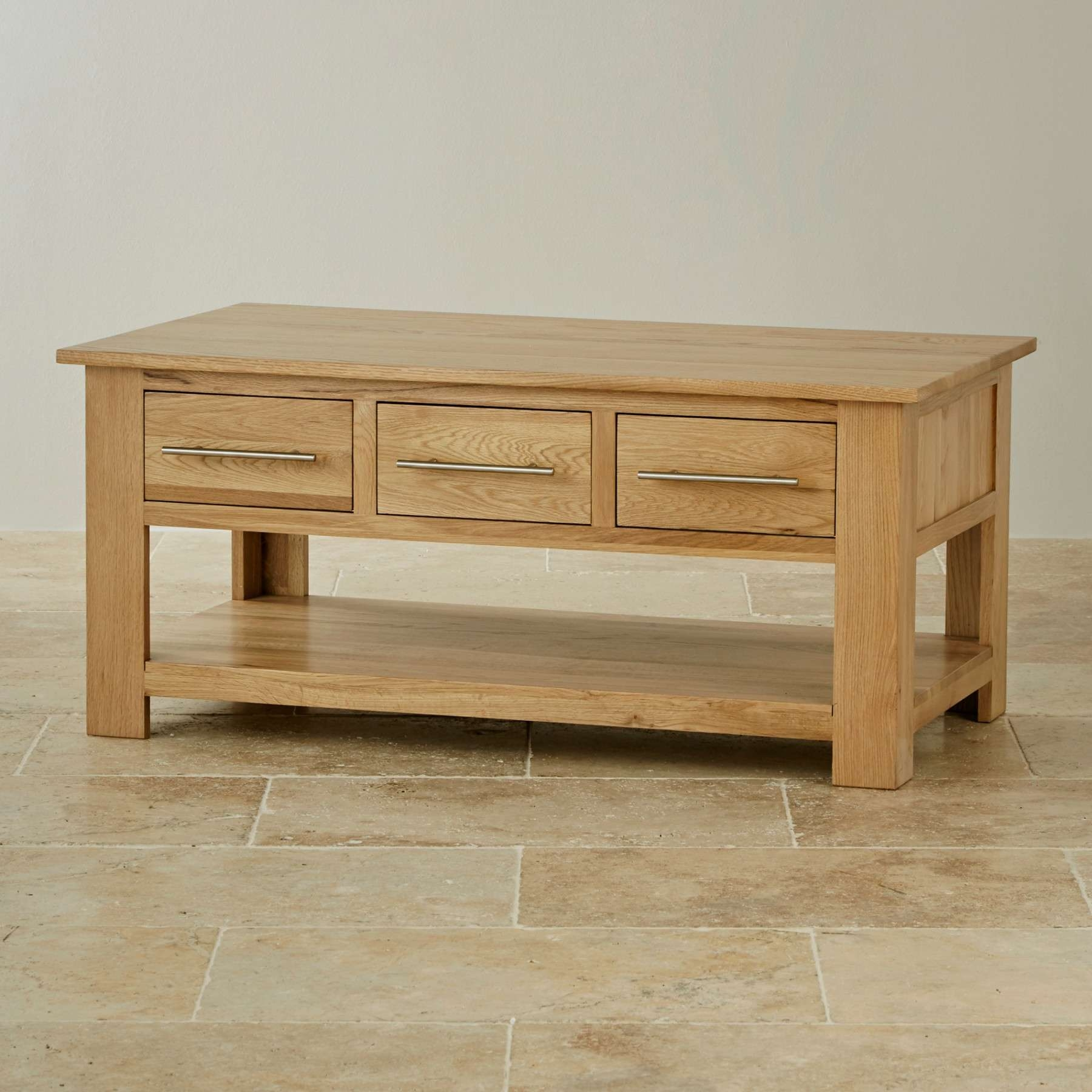 Rivermead Natural Solid Oak 6 Drawer Storage Coffee Table (View 2 of 20)