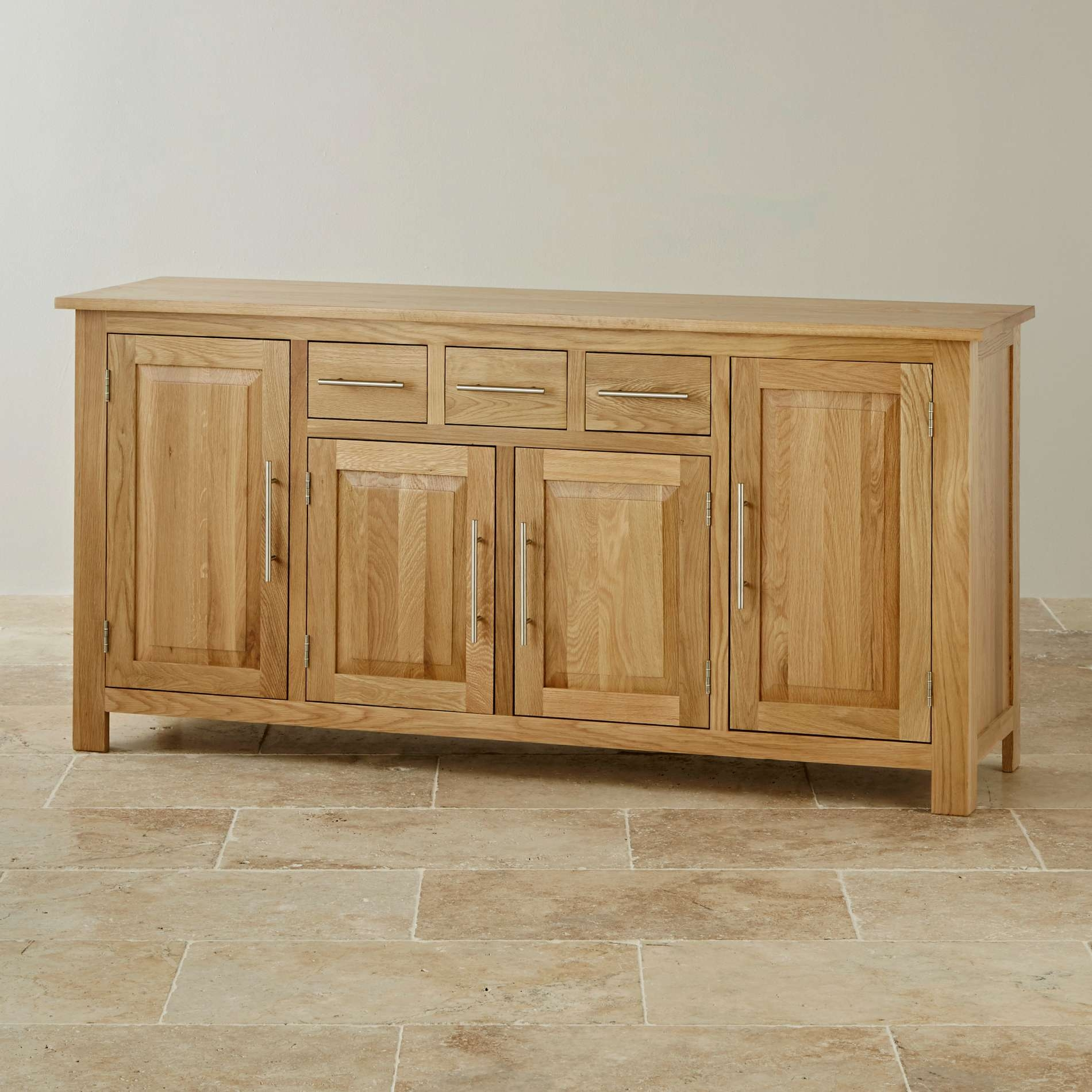 Rivermead Natural Solid Oak Large Sideboard | Oak Furniture Land Inside Solid Oak Sideboards (View 13 of 20)