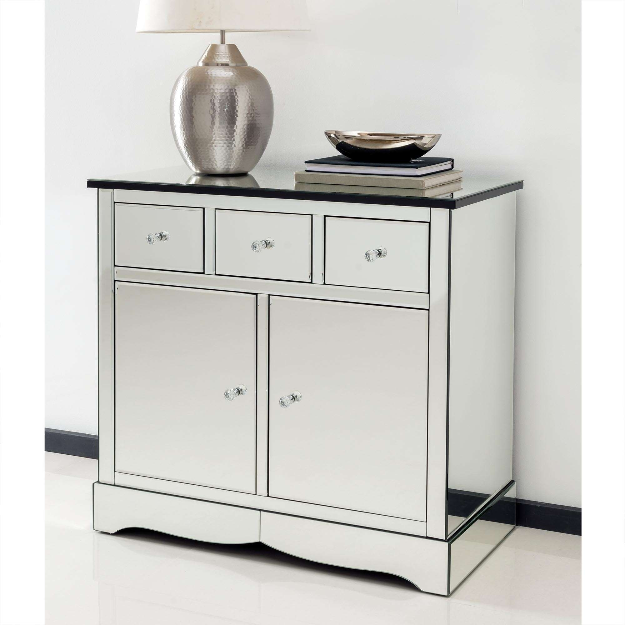 Romano Crystal Mirrored Cabinet With Cupboards & Drawers – French Throughout Mirrored Sideboards (View 3 of 20)