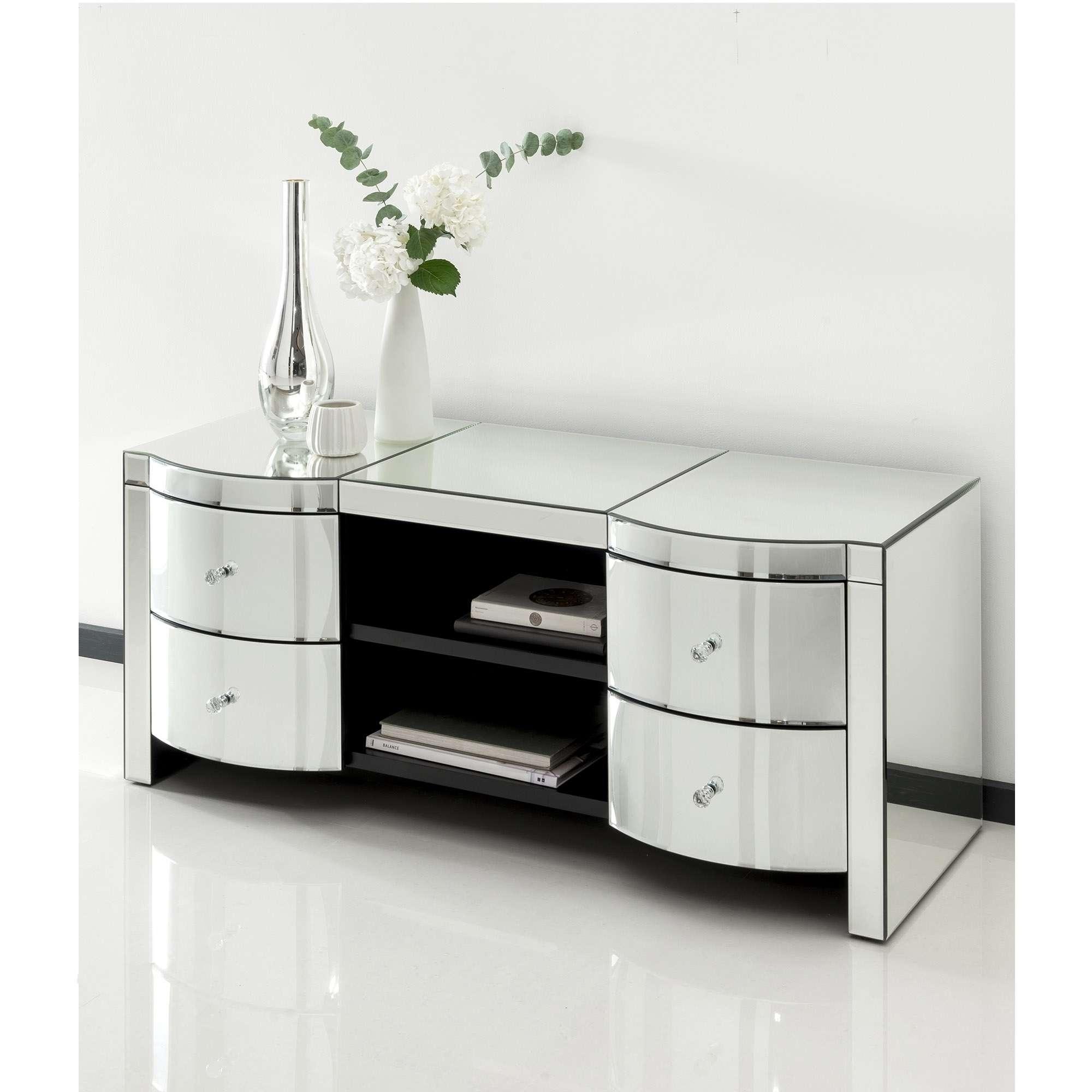 Romano Crystal Mirrored Tv Cabinet | Venetian Mirrored Furniture Regarding Mirror Tv Cabinets (View 4 of 20)