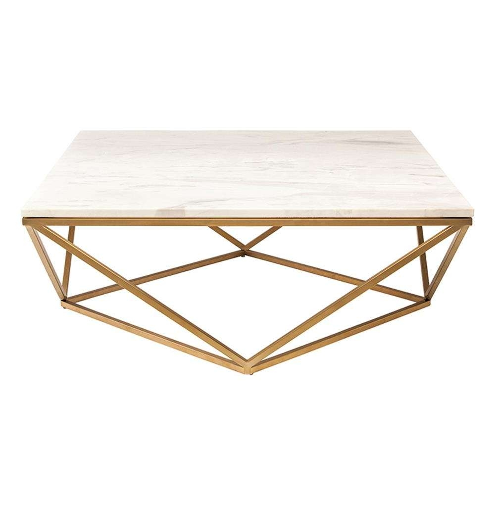 Rosalie Hollywood Regency Gold Steel White Marble Coffee Table Regarding Well Known Marble Coffee Tables (View 18 of 20)