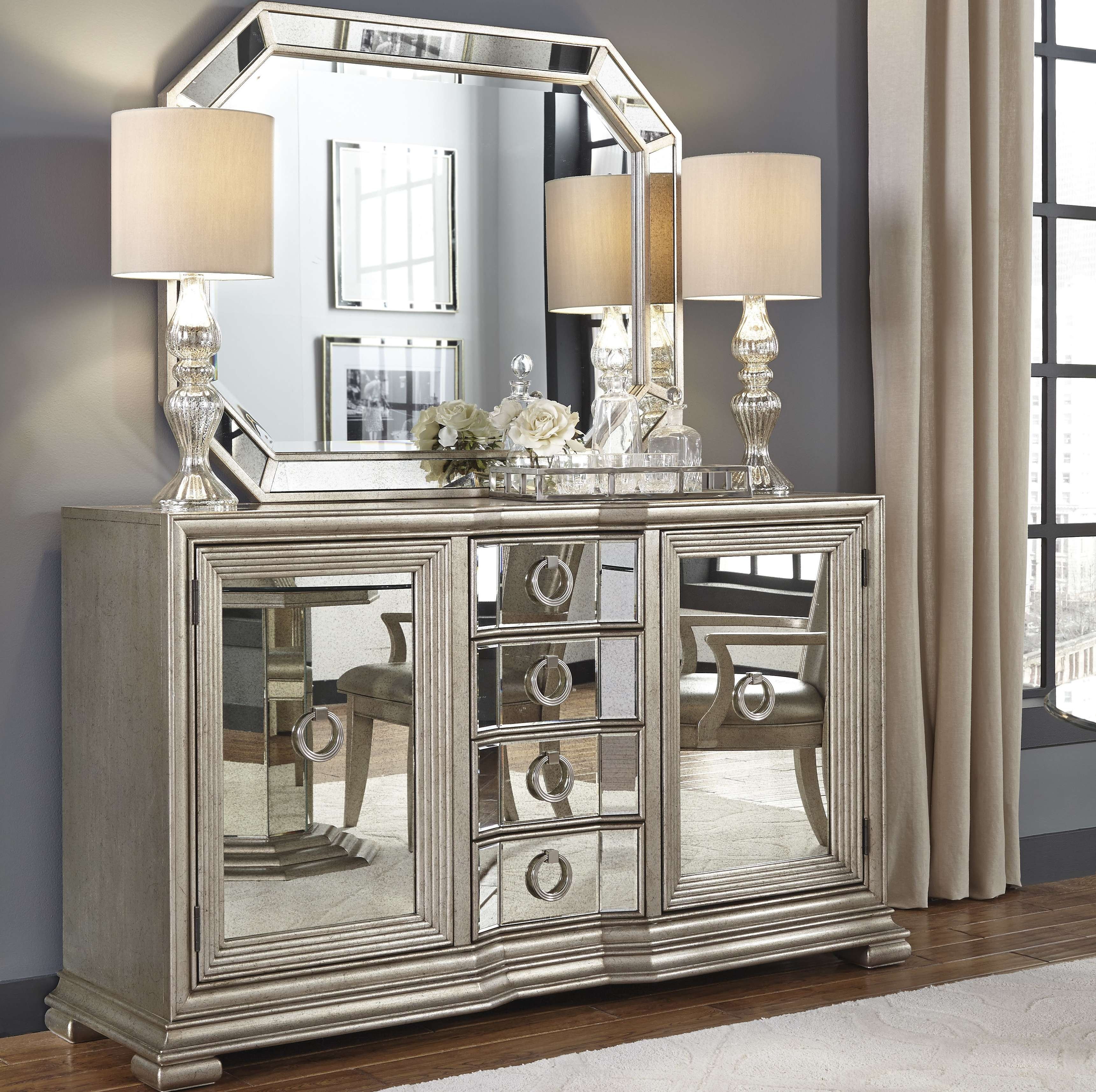 Rosdorf Park Sorrel Mirrored 4 Drawer Sideboard & Reviews | Wayfair Inside Small Mirrored Sideboards (View 13 of 20)