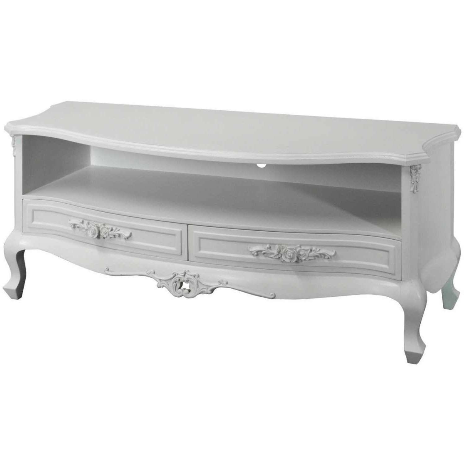 Rose Shabby Chic White Painted Low Widescreen Tv Stand Cabinet Regarding Shabby Chic Tv Cabinets (View 11 of 20)