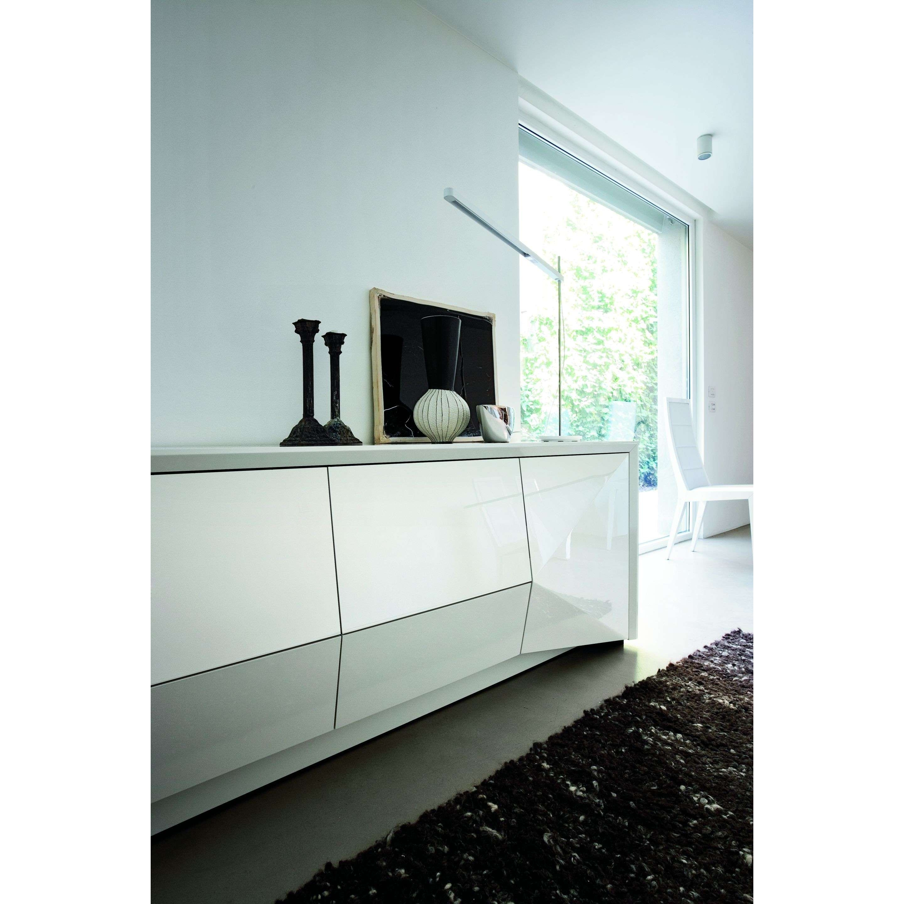 "Rossetto 98""l Large Sapphire Buffet Sideboard In White Finish For Intended For Large White Sideboards (View 16 of 20)"