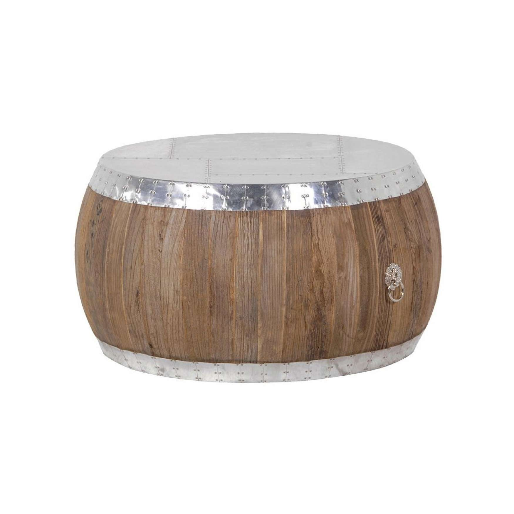 Round Aluminium And Elm Coffee Table Pertaining To 2017 Aluminium Coffee Tables (View 9 of 20)