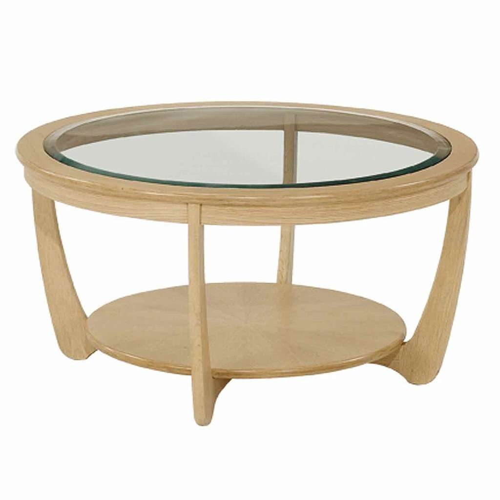 Round Coffee Table: Beautiful Oak Round Coffee Table Ideas Round Pertaining  To Famous Glass Oak