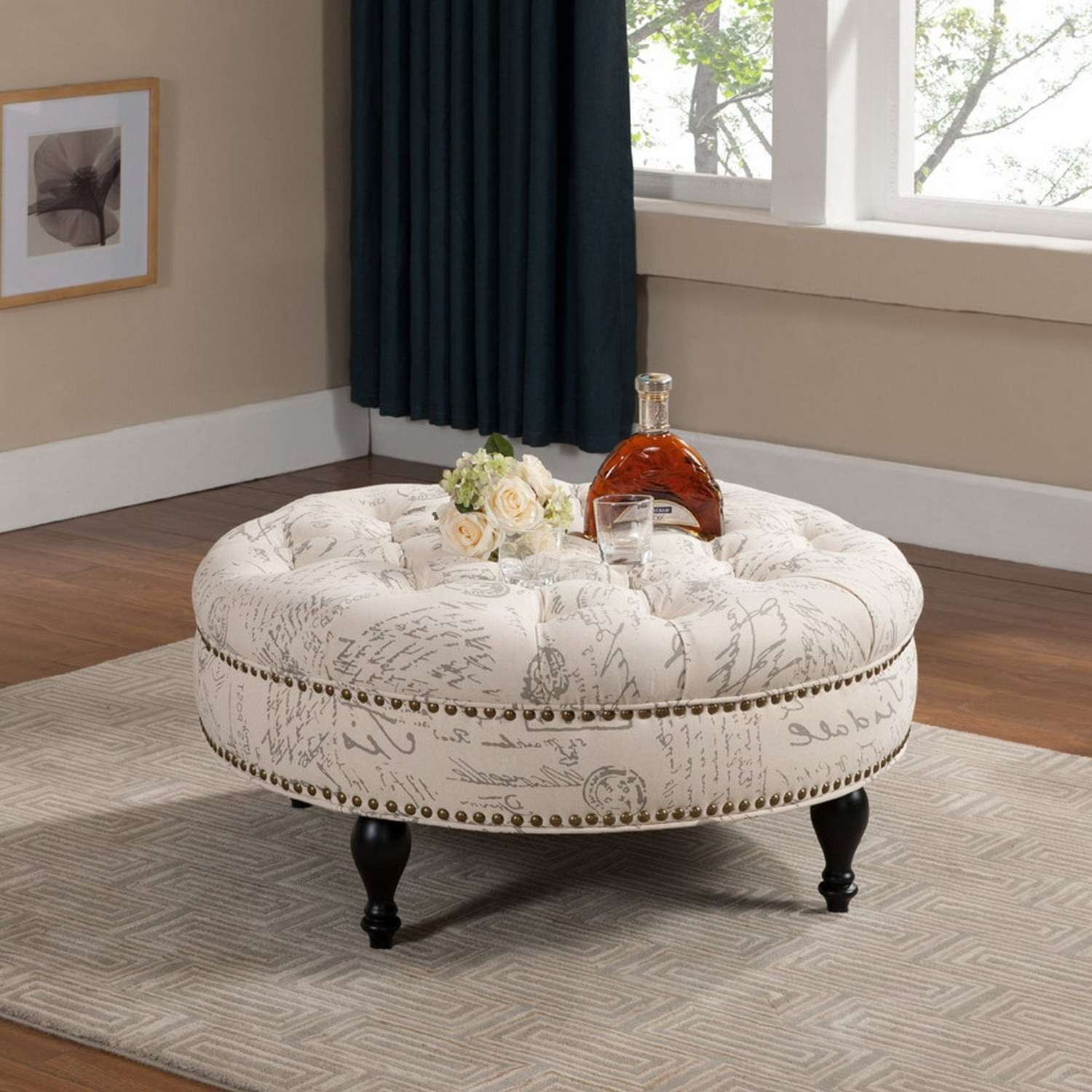Round Fabric Ottoman Coffee Table – Beautiful Living Room With With Regard To Most Popular Fabric Coffee Tables (View 9 of 20)