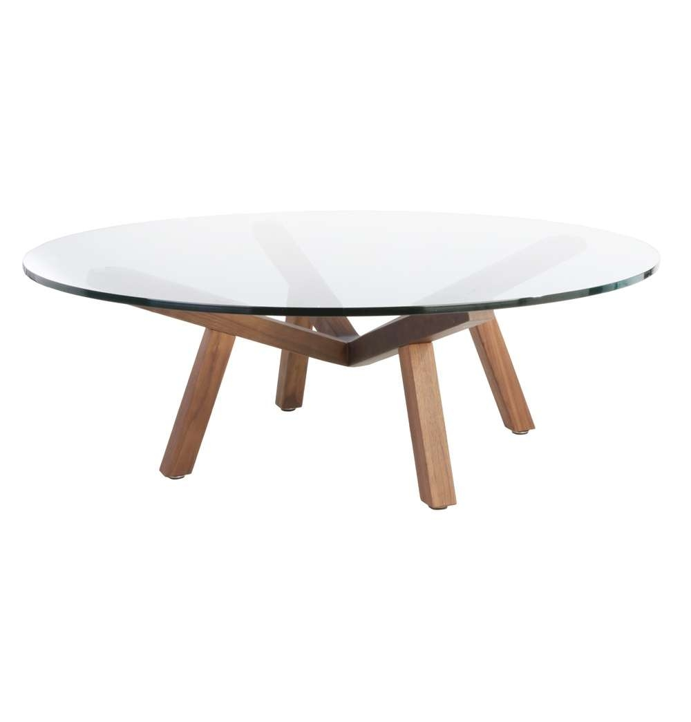 Round Glass Coffee Table Wood Base – Thick Glass Table Top, Round Inside Trendy Round Glass Coffee Tables (View 17 of 20)