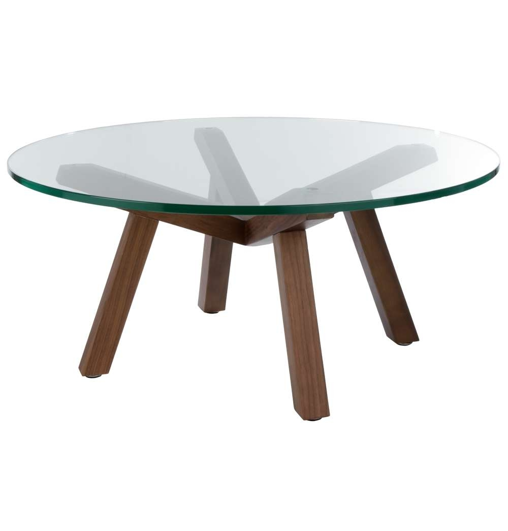 Round Glass Coffee Table Wood Base – Thick Glass Table Top, Round With Regard To Most Up To Date Thick Glass Coffee Table (View 9 of 20)
